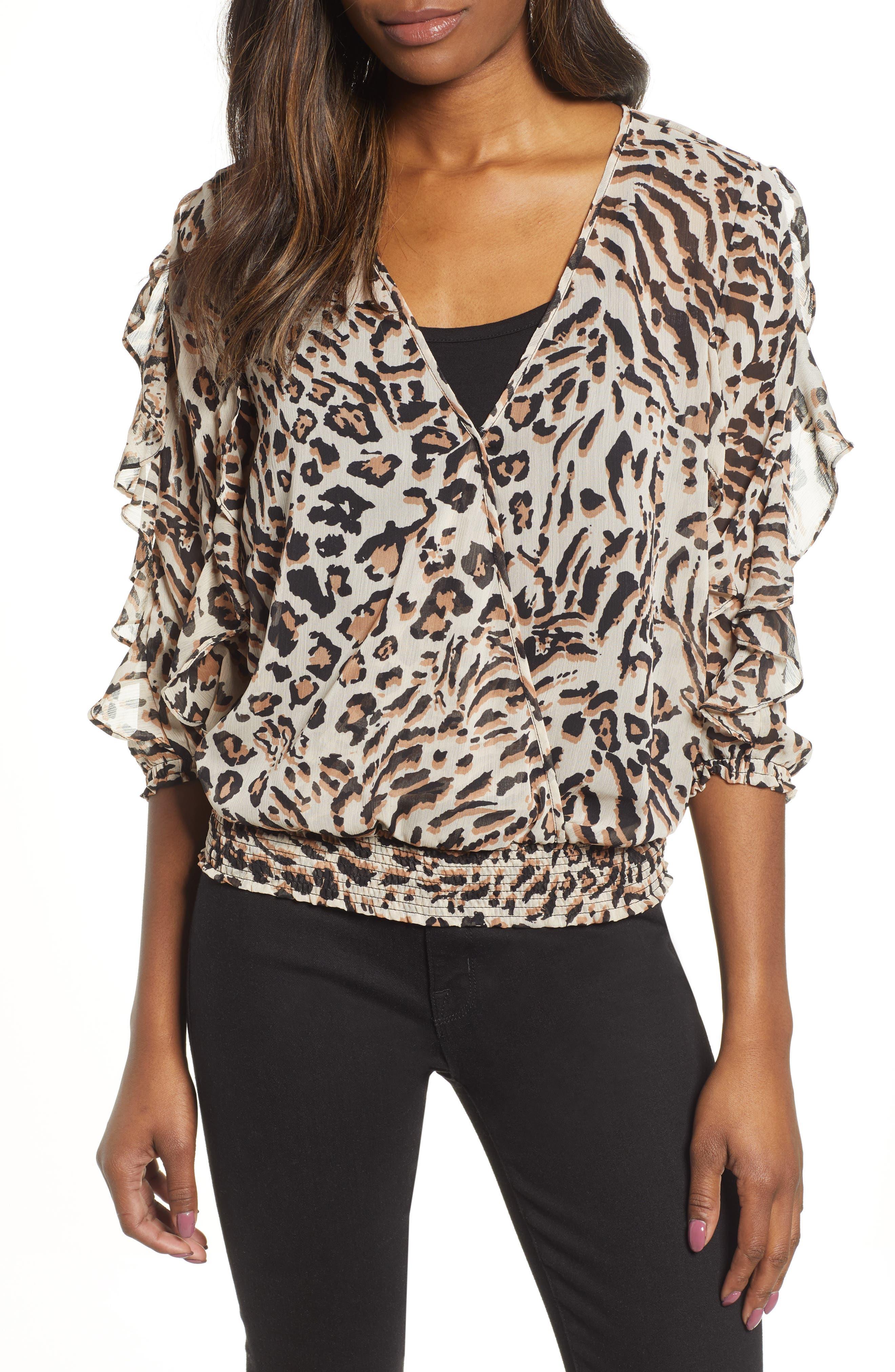 WIT & WISDOM Smocked Ruffle Sleeve Blouse, Main, color, TAN/ BLACK