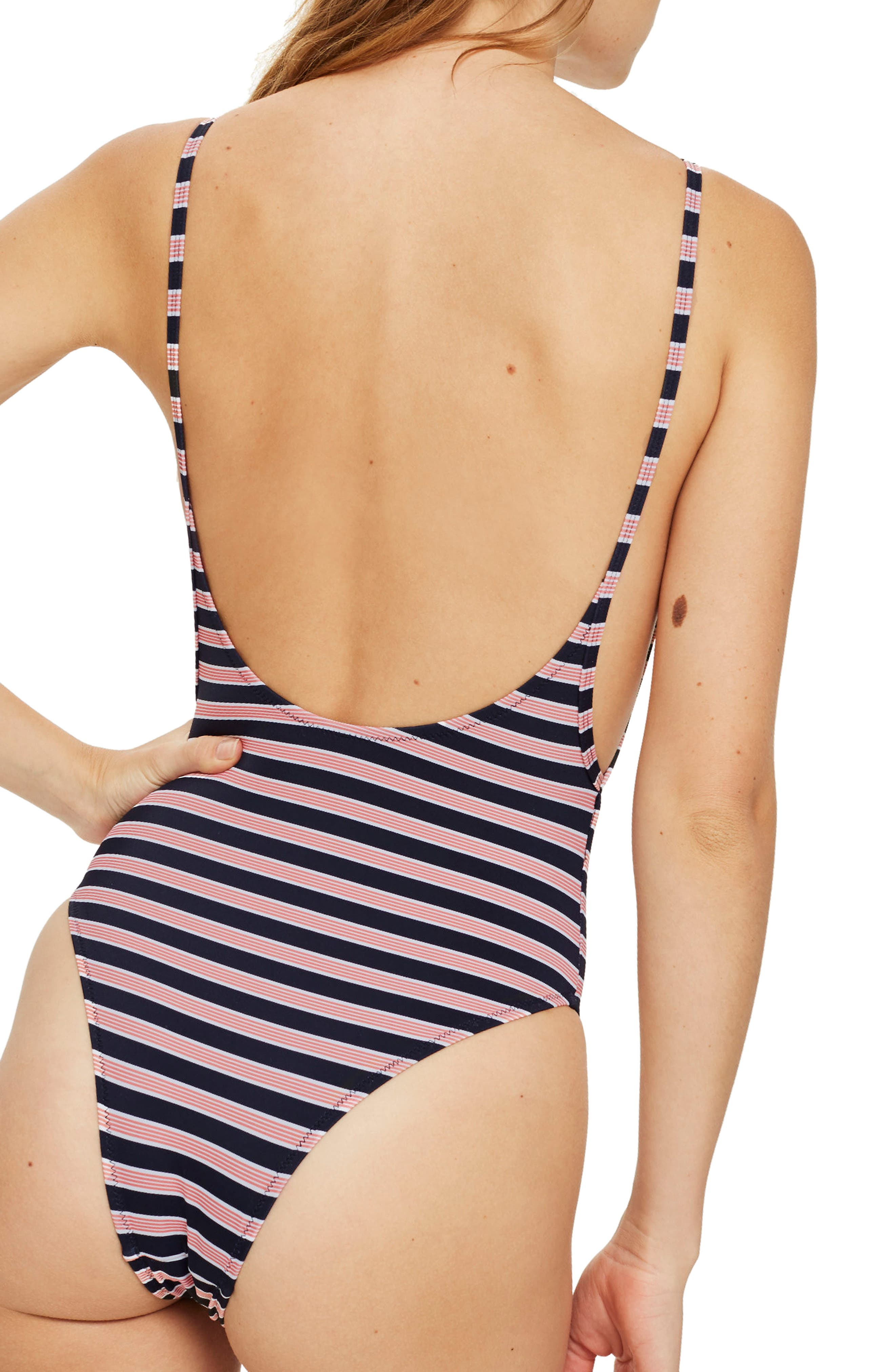 Pamela Stripe Block One-Piece Swimsuit,                             Alternate thumbnail 2, color,                             651