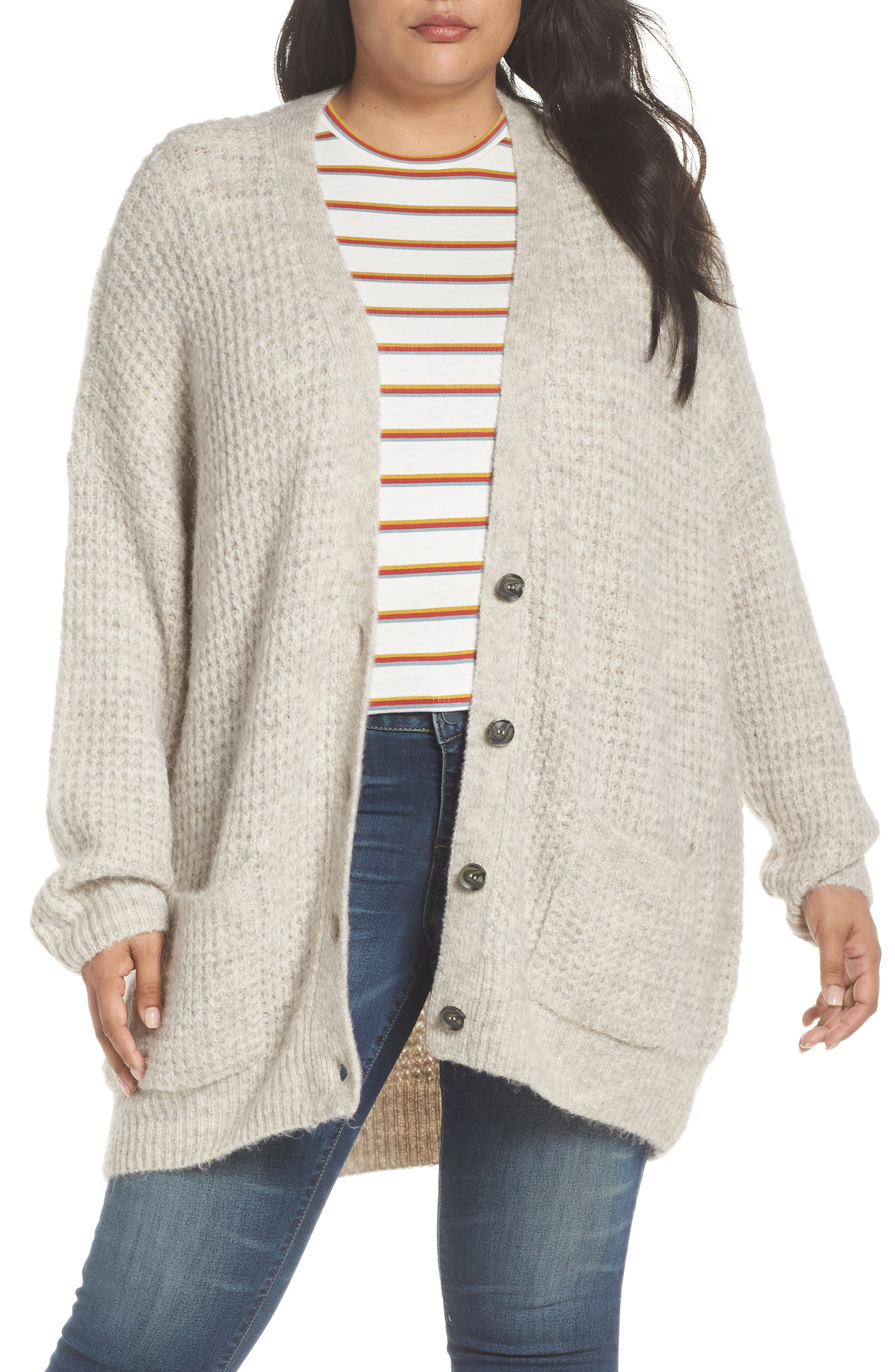Oversized Waffle Stitch Cardigan,                             Alternate thumbnail 2, color,                             BEIGE BIRCH