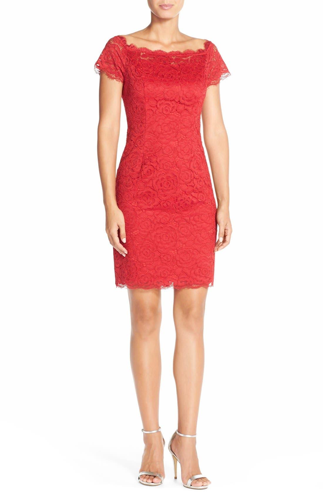 Off the Shoulder Lace Sheath Dress,                             Alternate thumbnail 35, color,