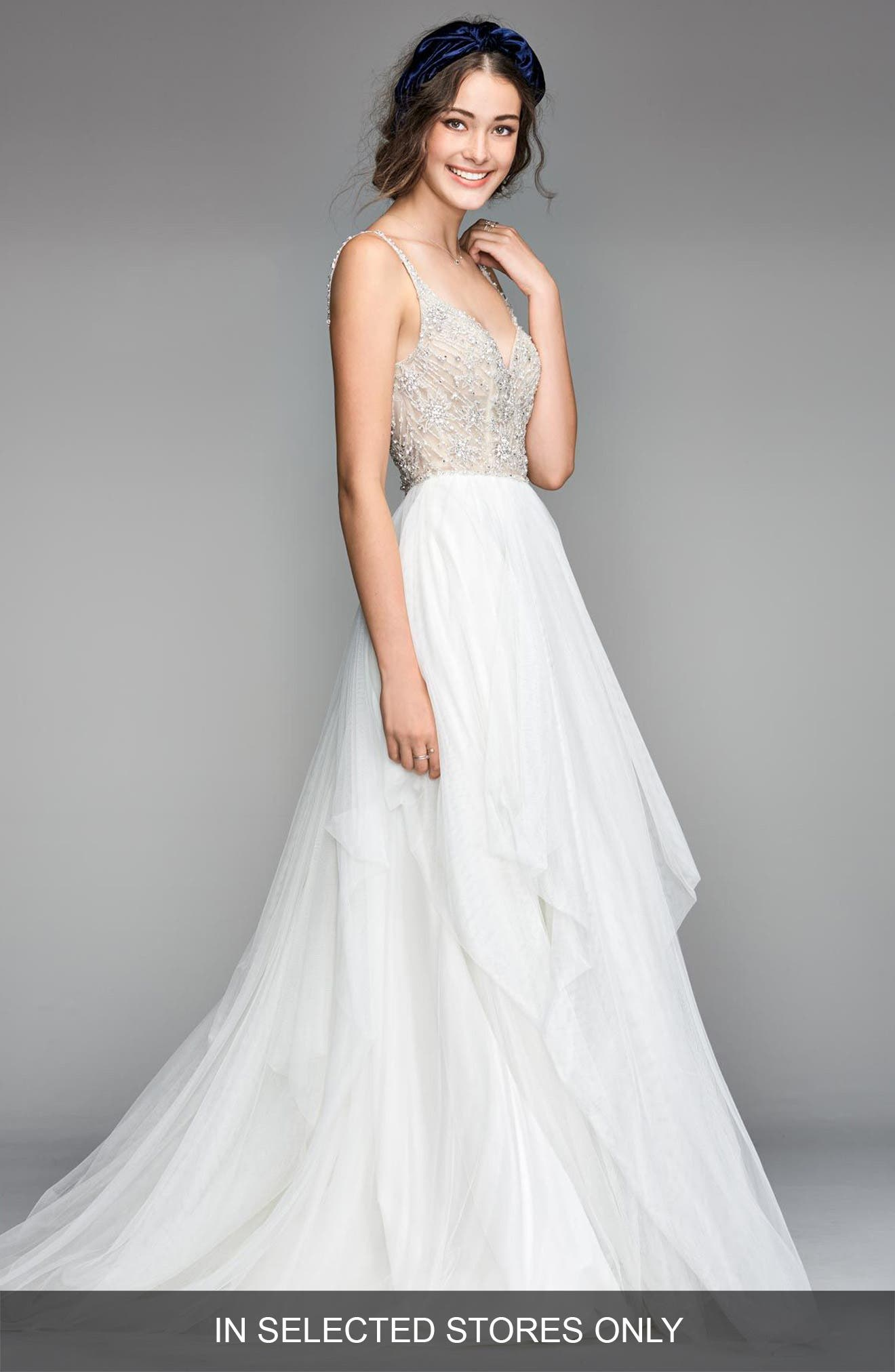 Nova Beaded Bodice Tulle Gown,                         Main,                         color, IVORY/ NUDE
