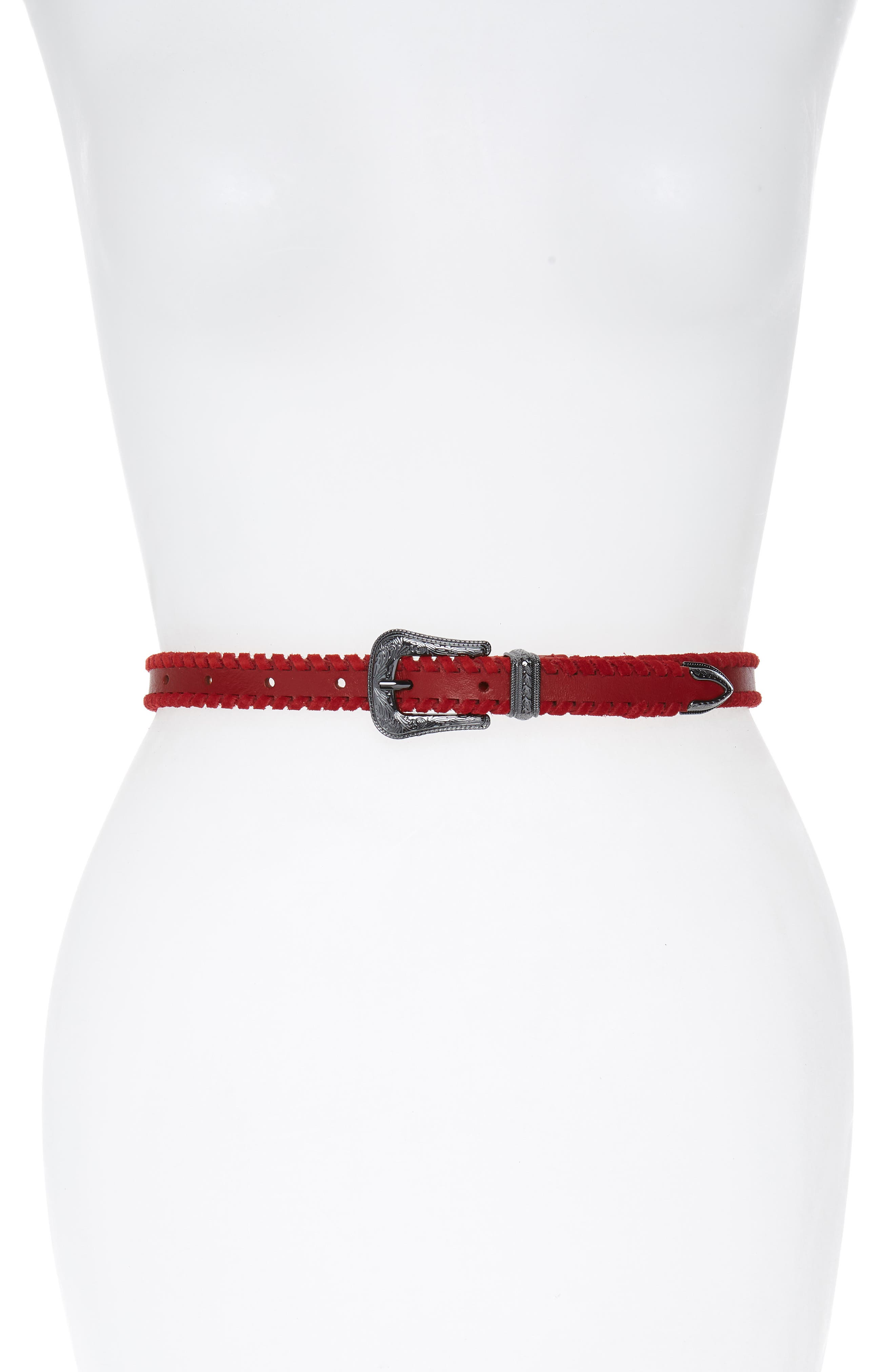 Whipstitch Leather Belt,                         Main,                         color, SCARLETT