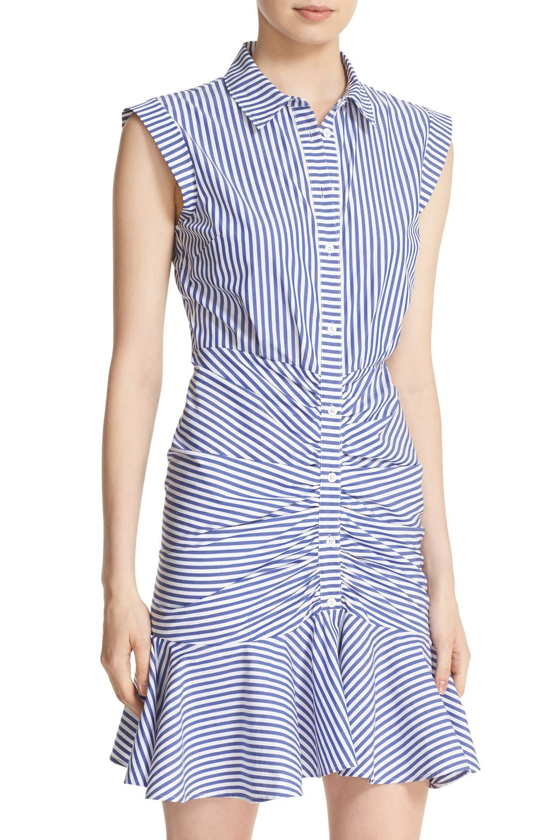 Bell Stripe Ruched Shirtdress,                             Alternate thumbnail 4, color,                             BLUE/ WHITE