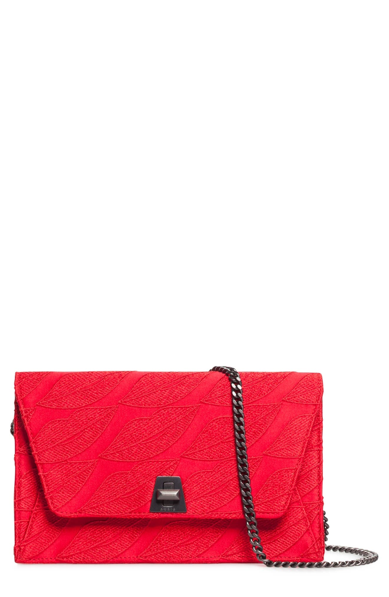Anouk Embroidered Silk Wallet on a Chain, Main, color, LOVE