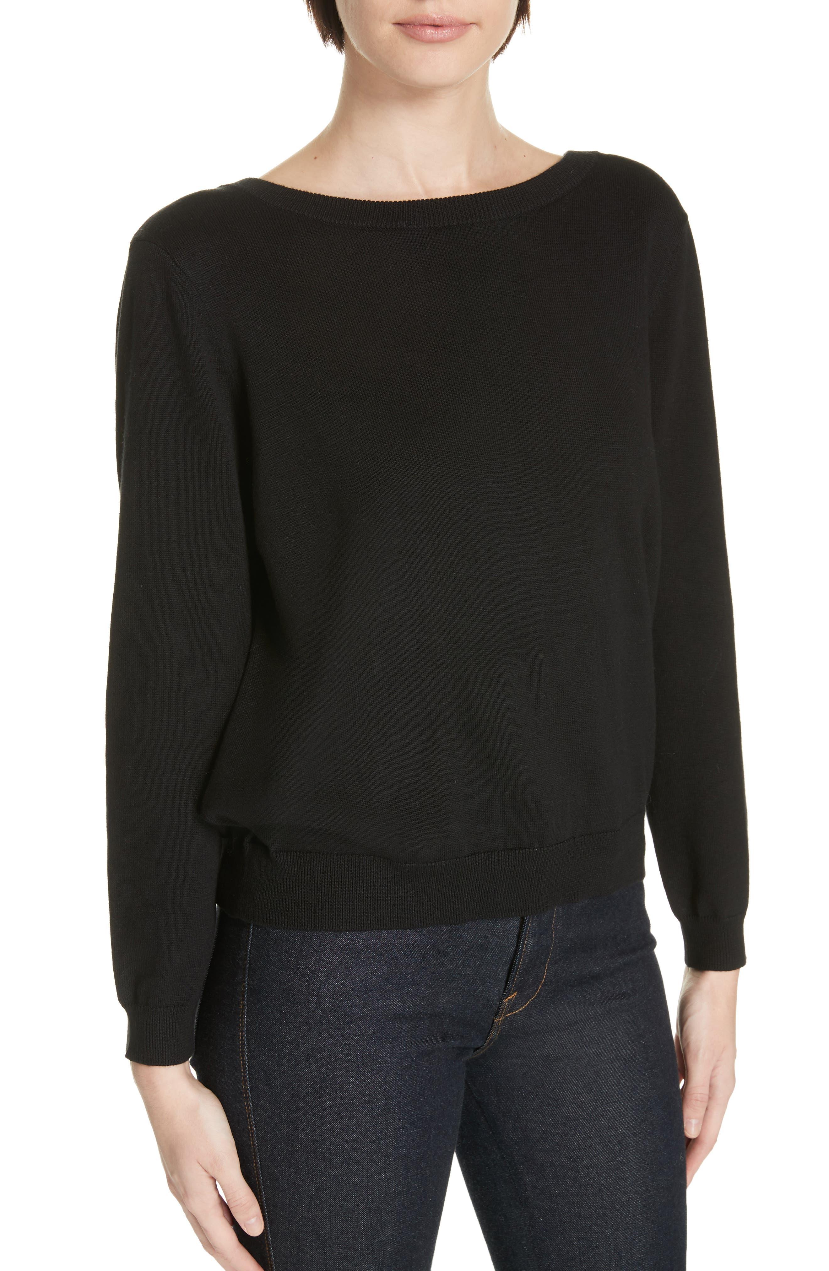 Dolina Embellished Back Sweater,                             Alternate thumbnail 4, color,                             NOIR