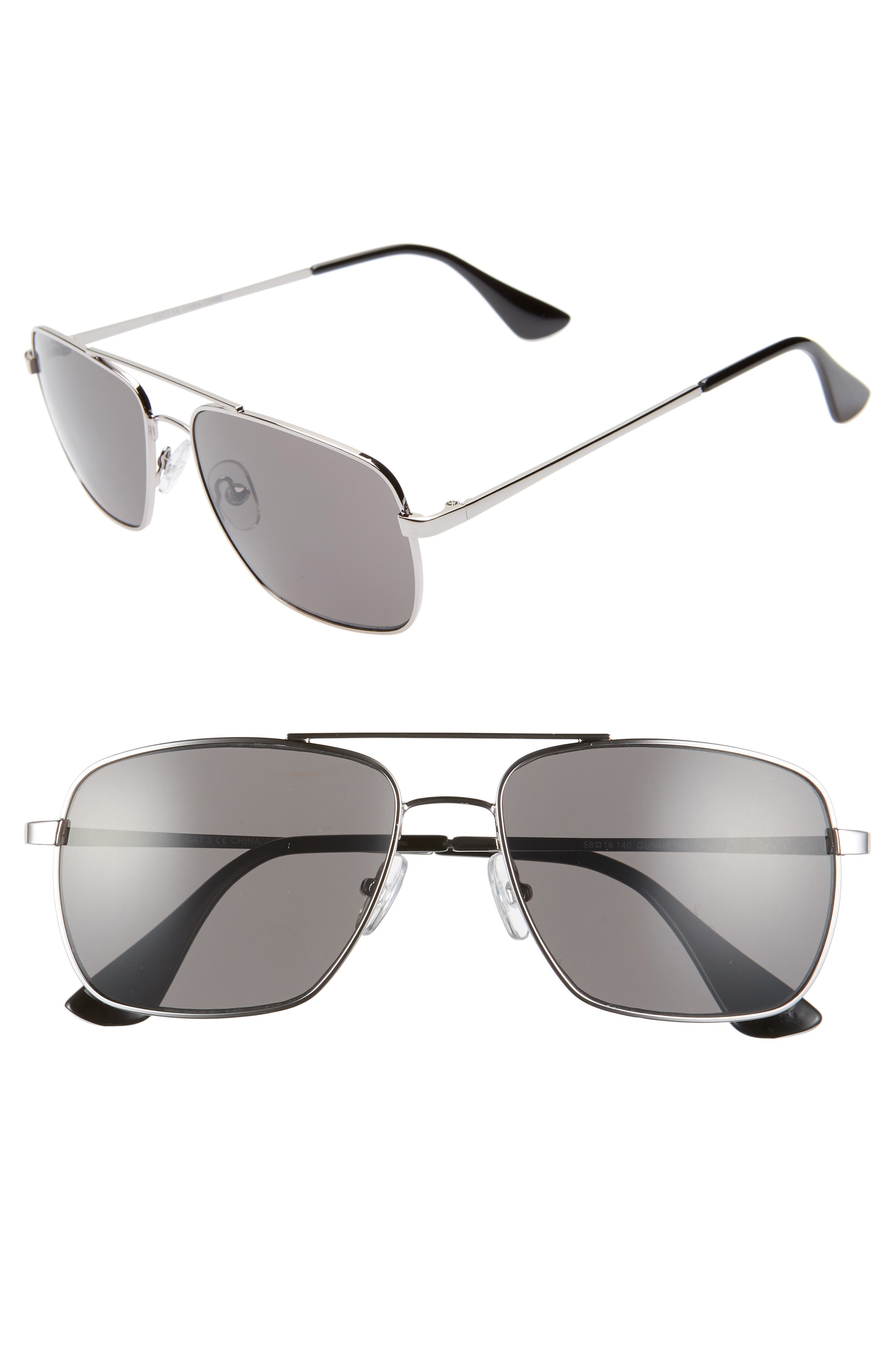 Taylor 58mm Aviator Sunglasses,                         Main,                         color, GUNMETAL/ GREY