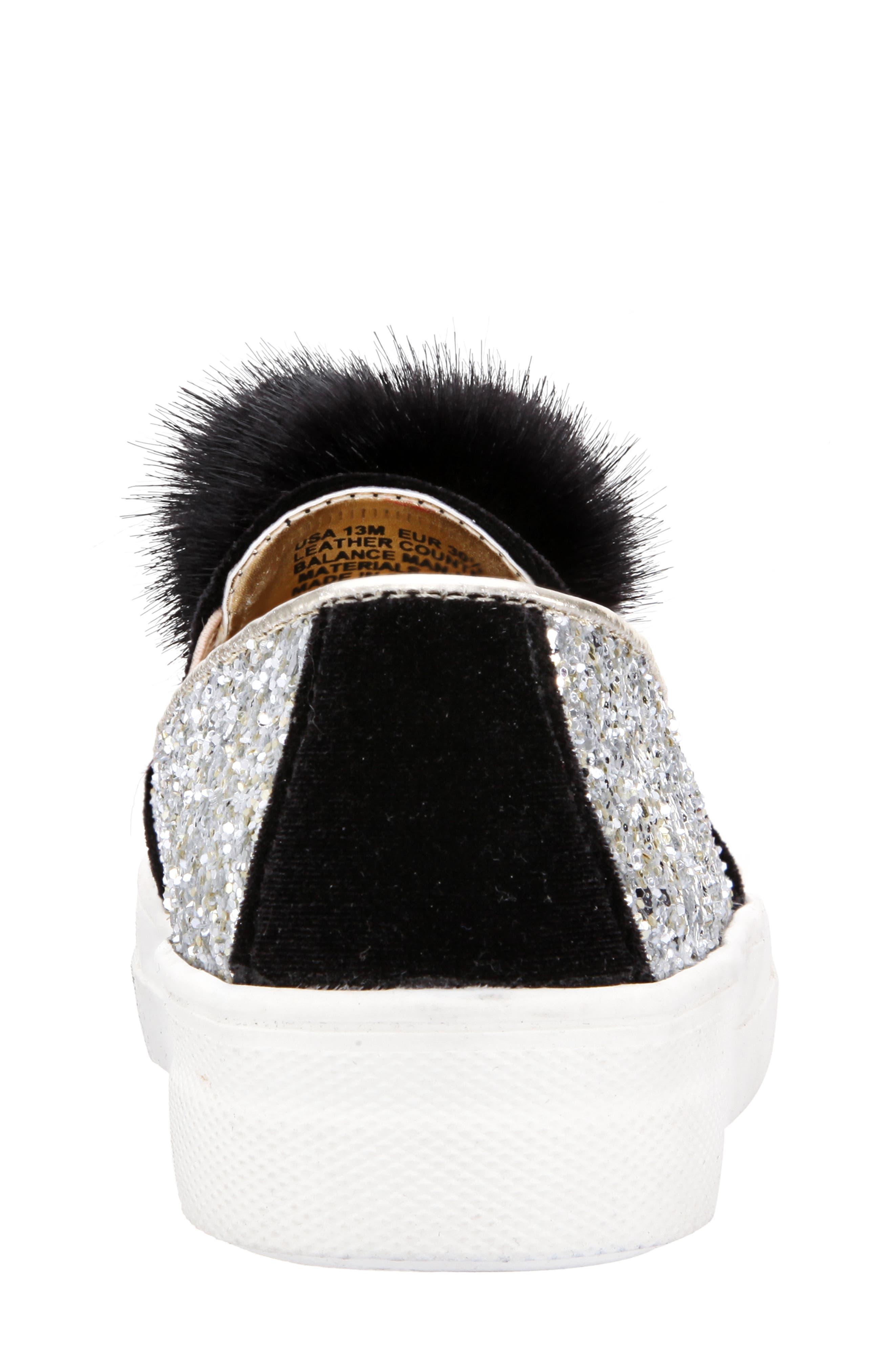 Hannie Glitter Pom Slip-On Sneaker,                             Alternate thumbnail 7, color,                             007