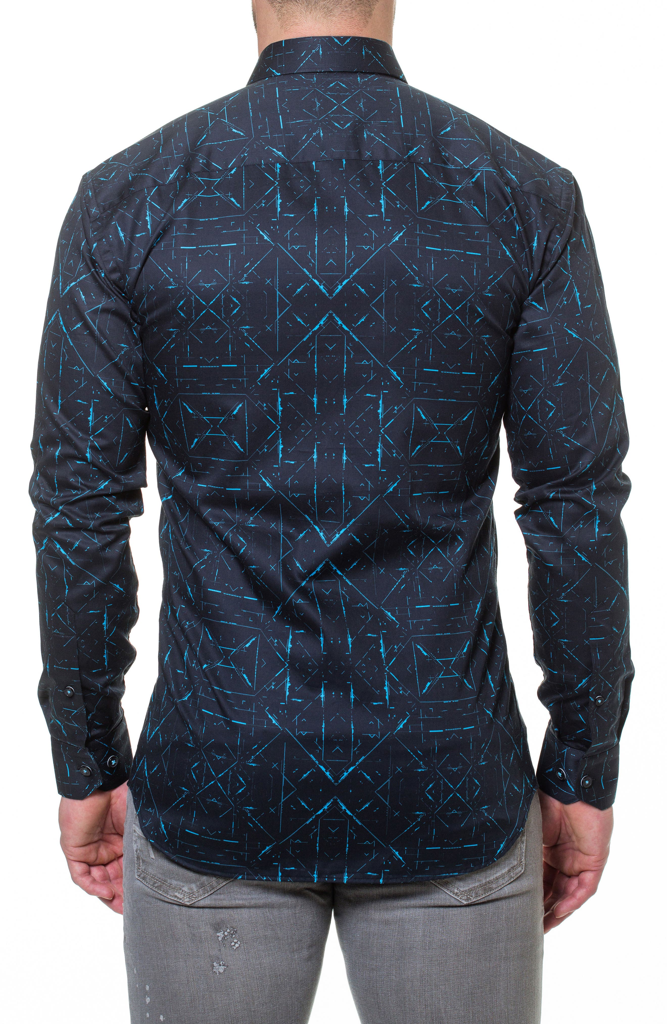 Luxor Sketch Black Slim Fit Sport Shirt,                             Alternate thumbnail 2, color,                             007