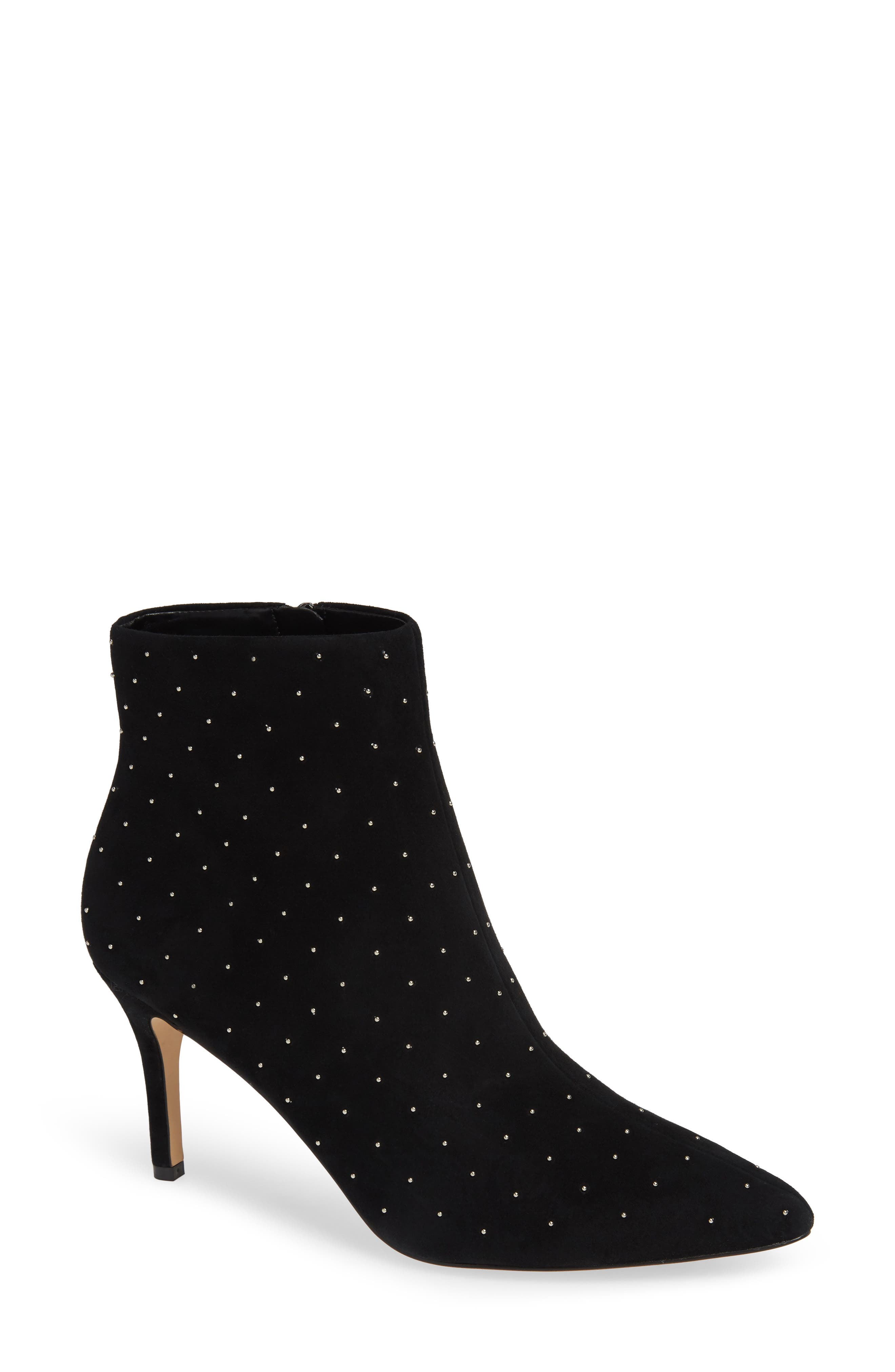 Eliza Studded Bootie,                             Main thumbnail 1, color,                             BLACK STUDDED SUEDE