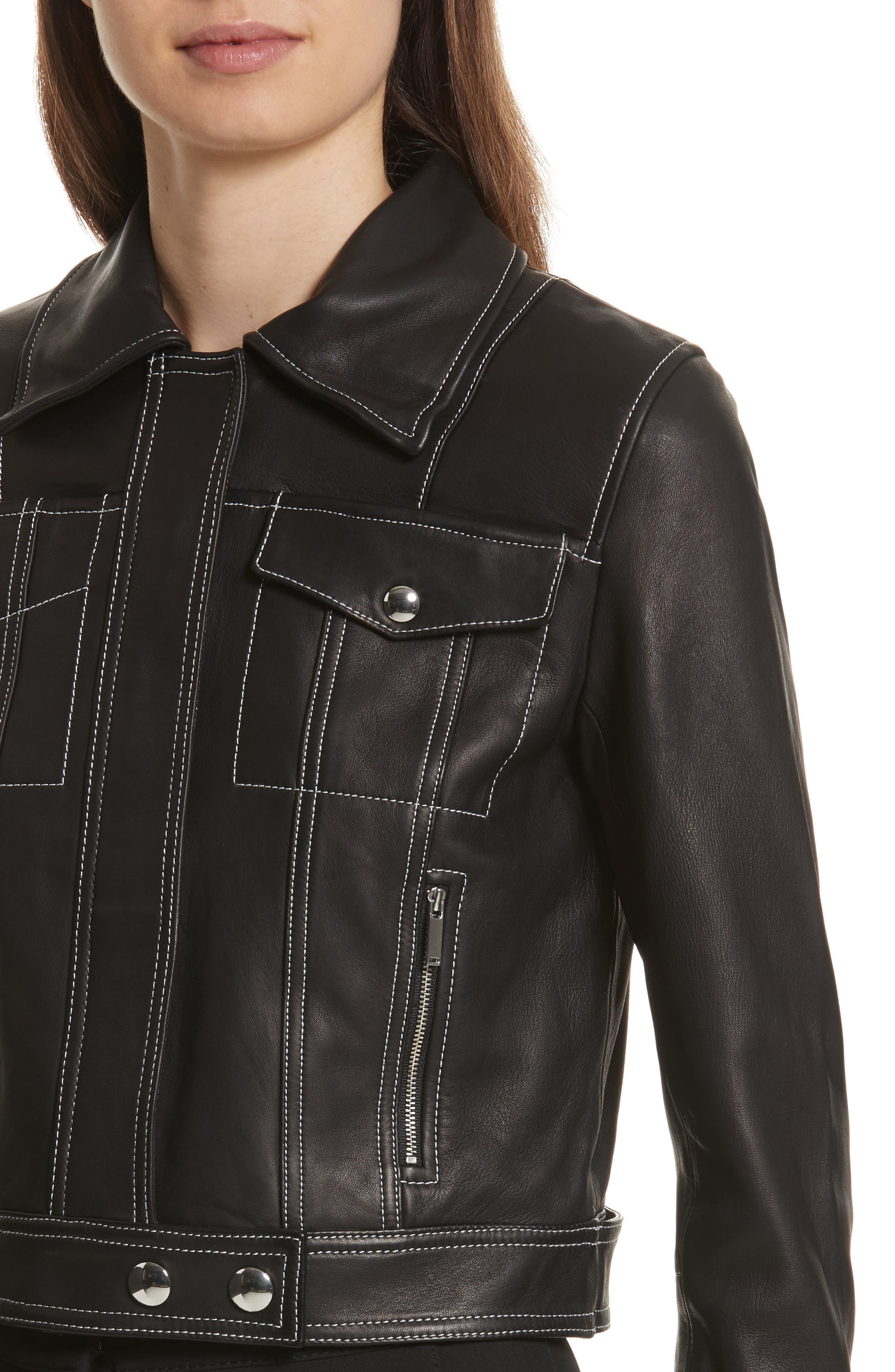 GREY Jason Wu Shrunken Leather Jacket with Removable Genuine Shearling Collar,                             Alternate thumbnail 4, color,                             009