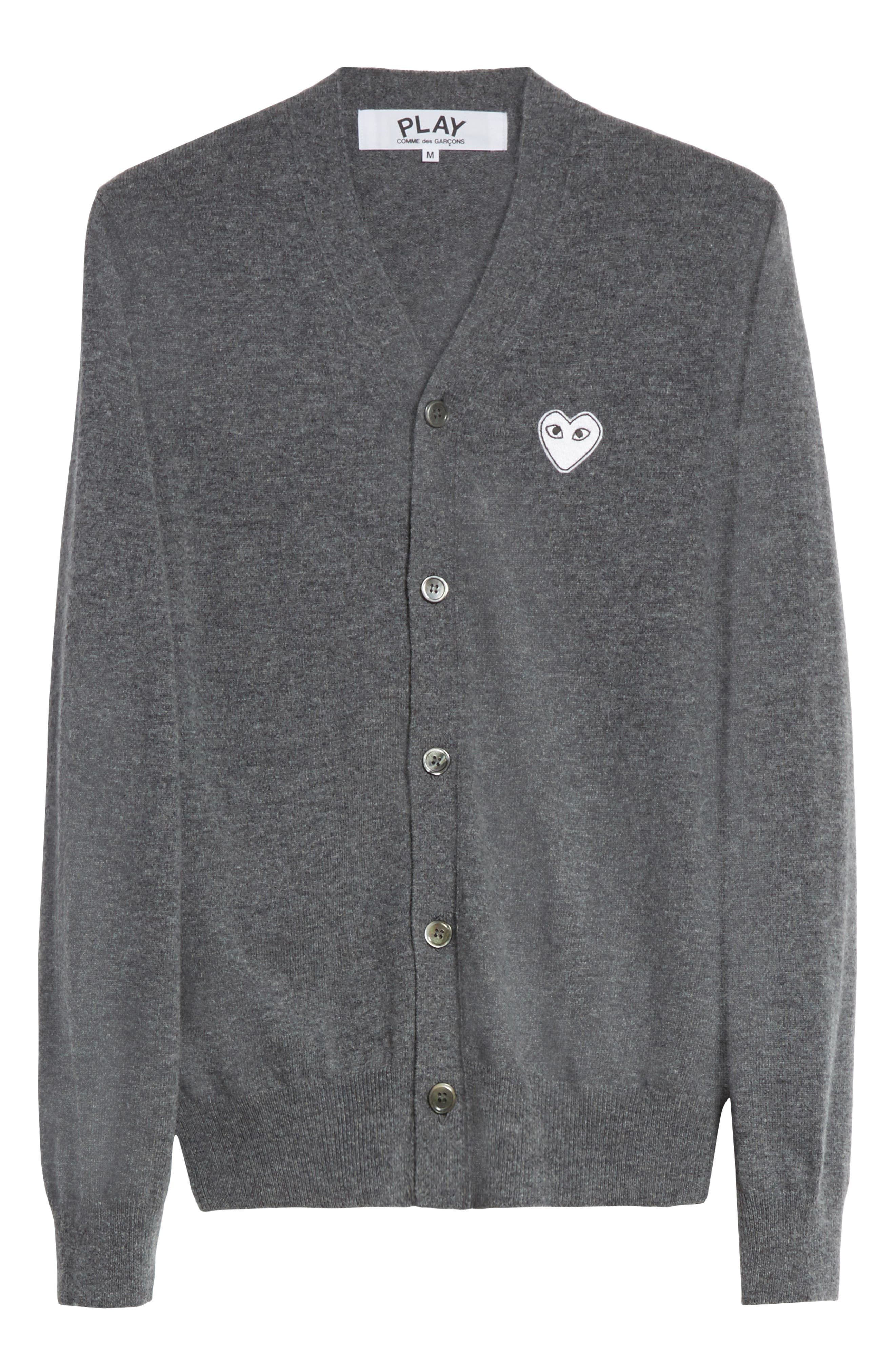 COMME DES GARÇONS PLAY,                             White Heart Wool Cardigan,                             Alternate thumbnail 6, color,                             GREY
