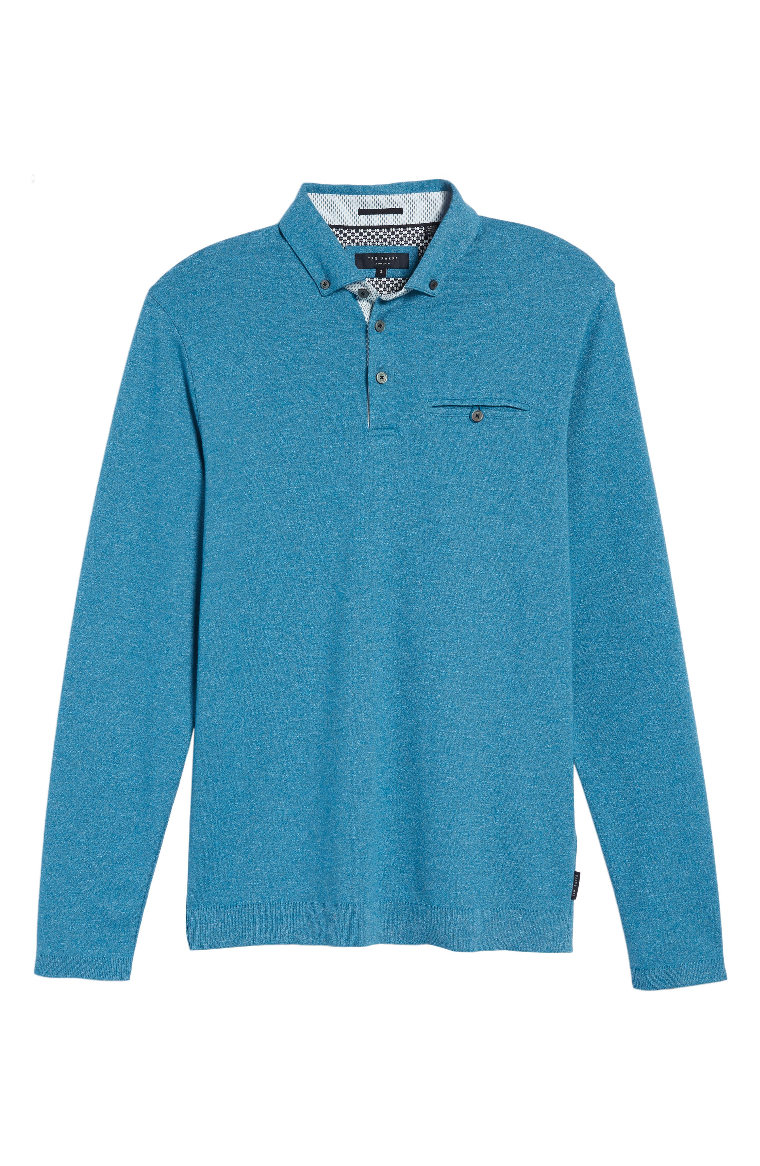 Yamway Modern Slim Fit Long Sleeve Polo,                             Alternate thumbnail 18, color,