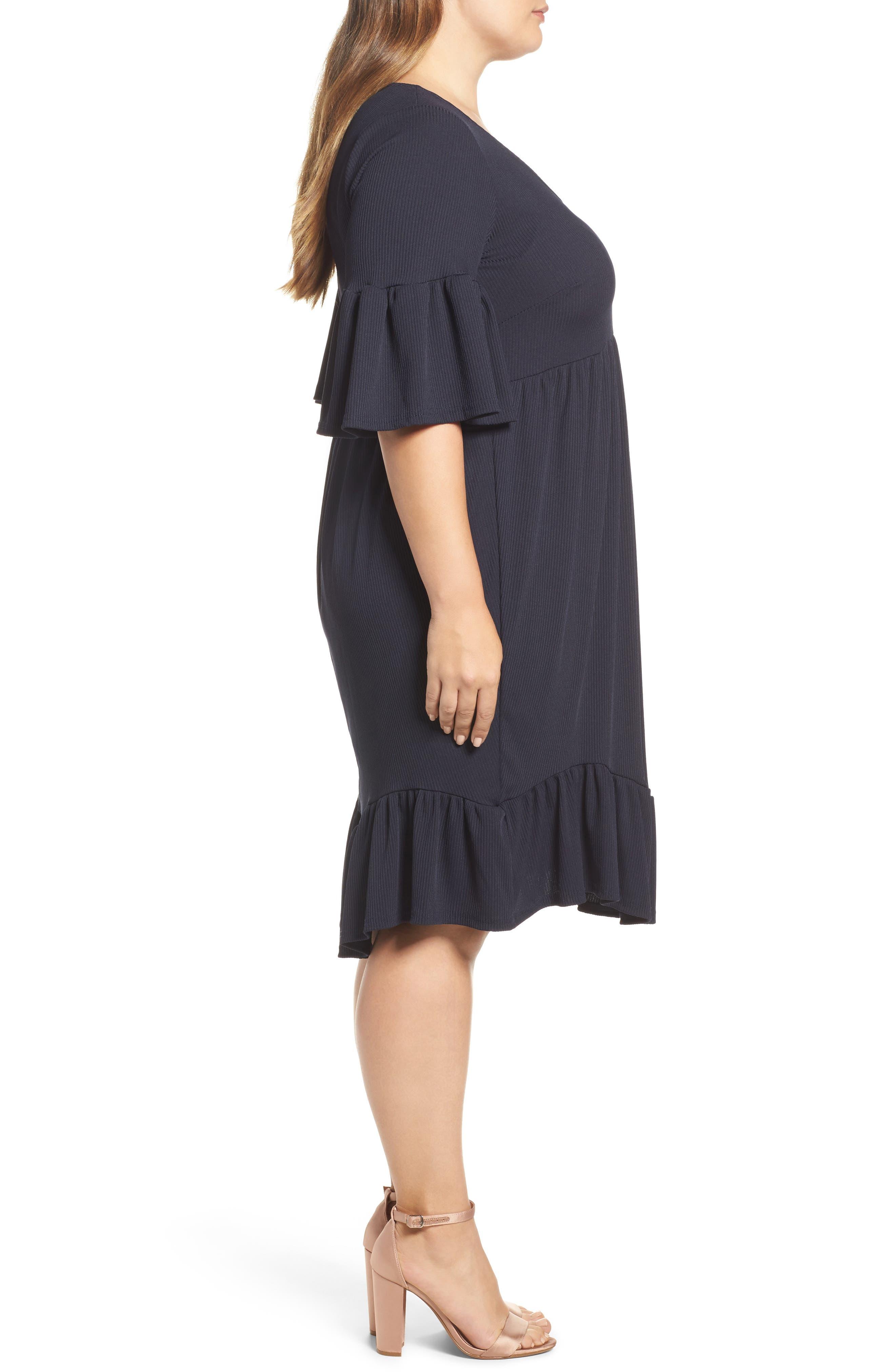 Ruffle Ribbed Knit Dress,                             Alternate thumbnail 3, color,                             410