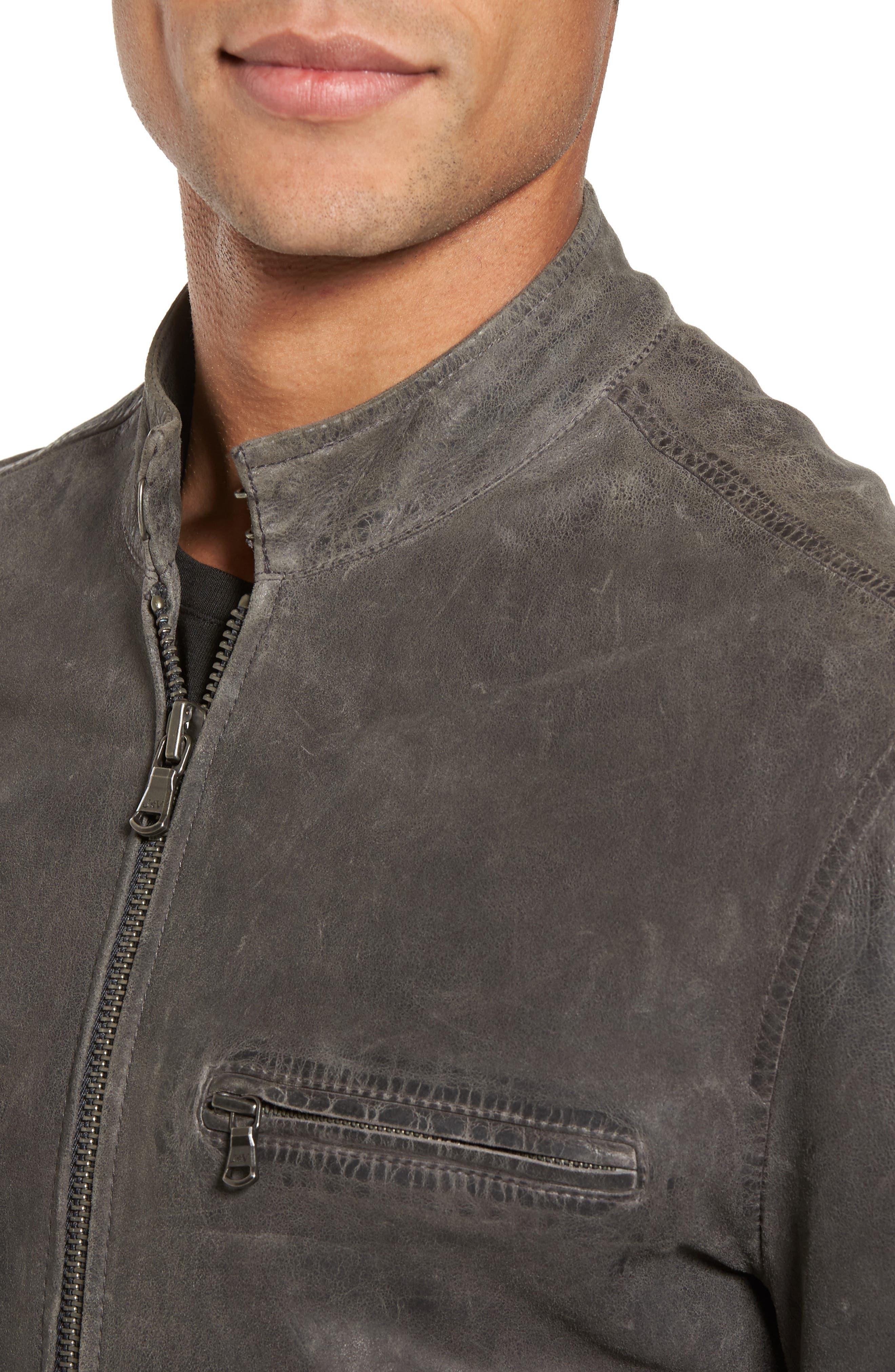 Leather Racer Jacket,                             Alternate thumbnail 4, color,                             036
