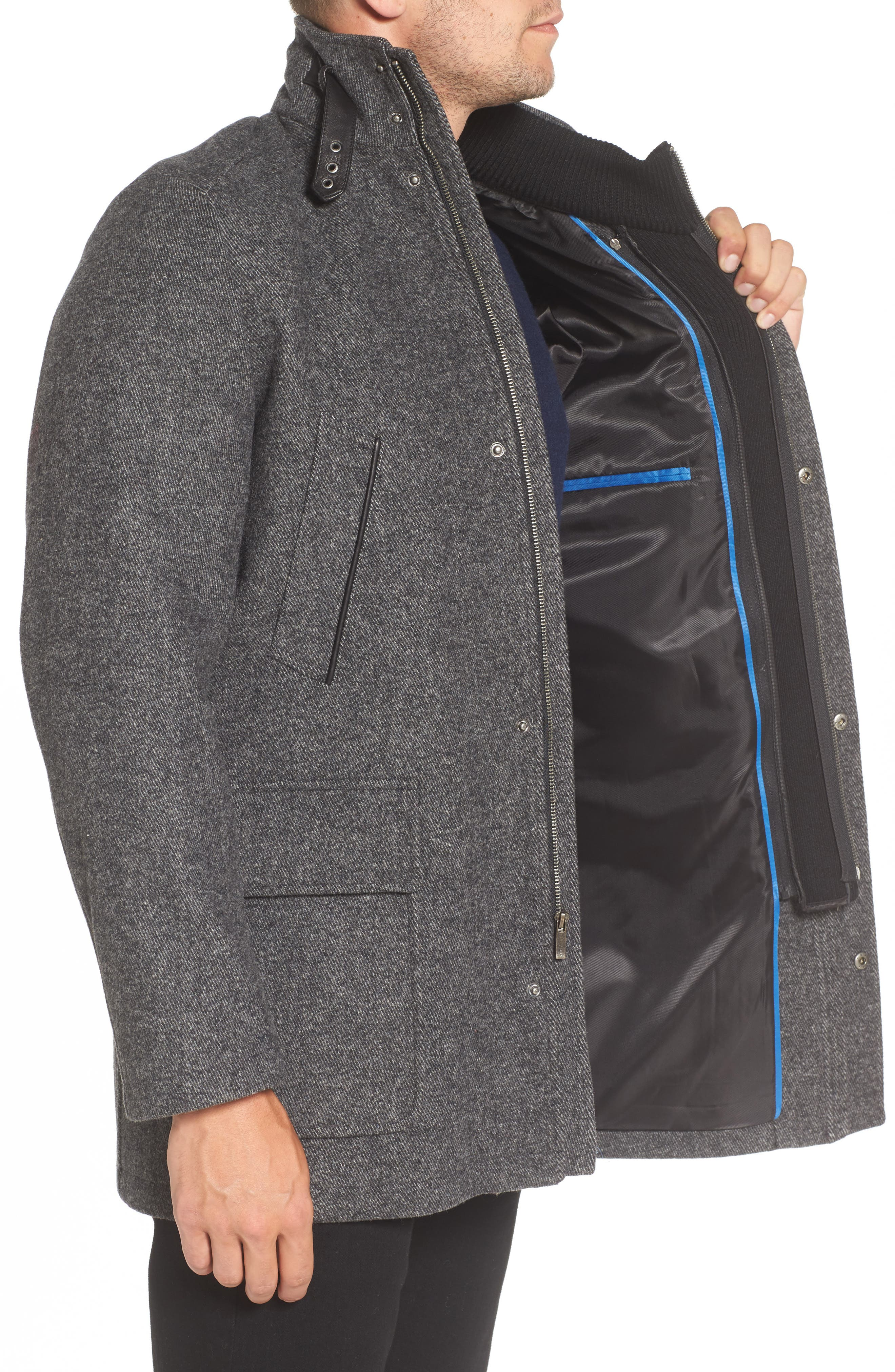 Wool Blend Car Coat with Removable Knit Bib,                             Alternate thumbnail 3, color,                             073