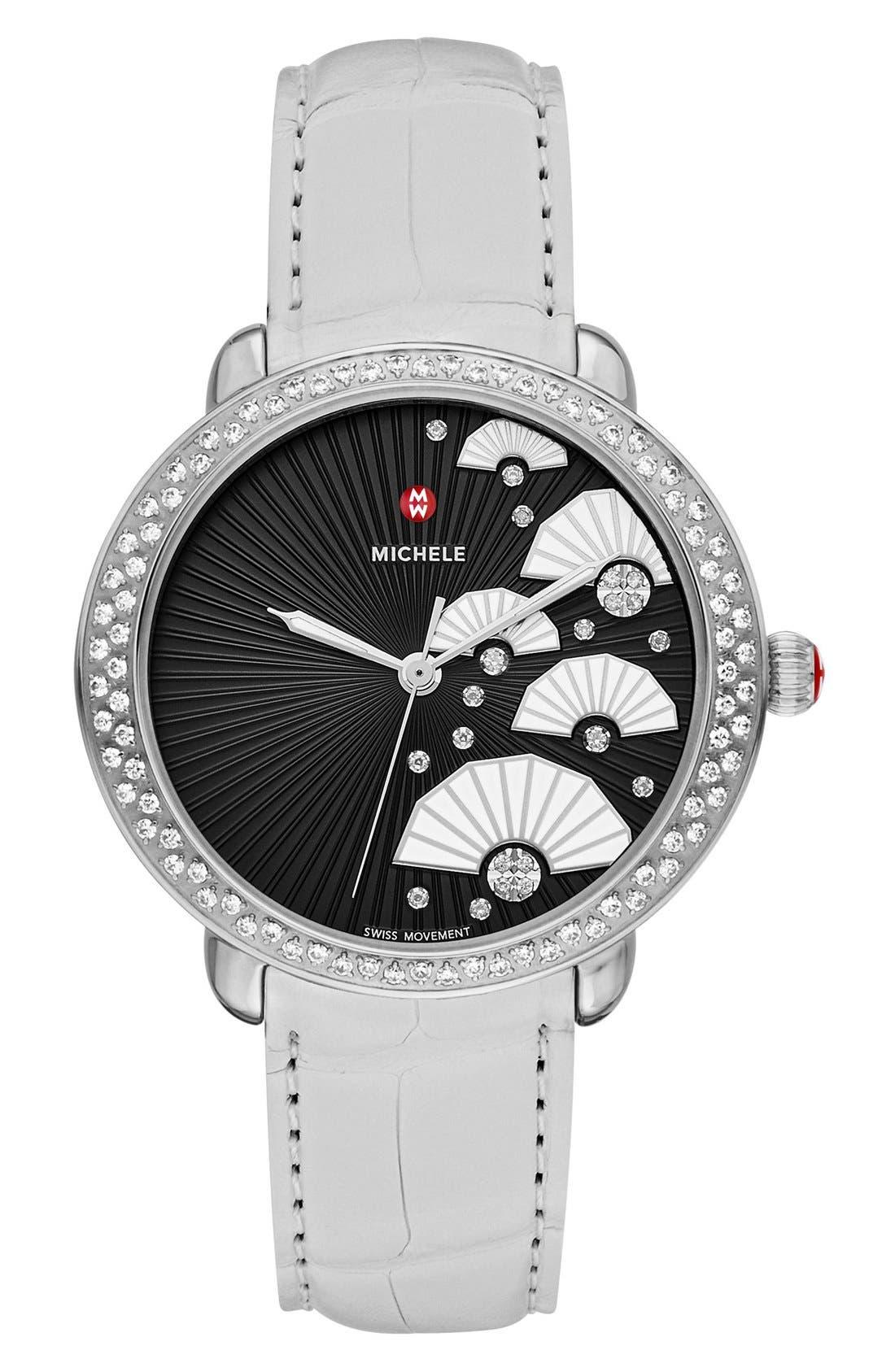 Serein 16 Diamond Diamond Fan Dial Watch Case, 36mm x 34mm,                             Alternate thumbnail 4, color,