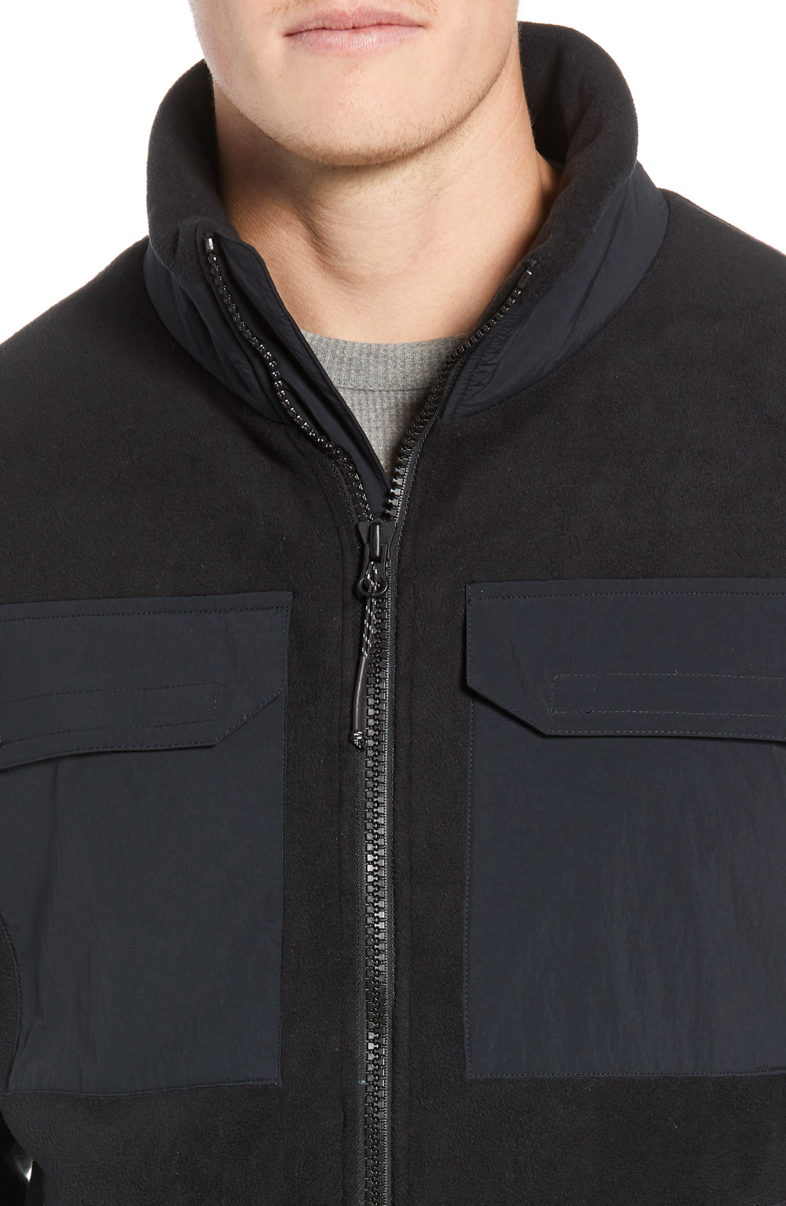 Schoening Zip Fleece Jacket,                             Alternate thumbnail 4, color,                             BLACK