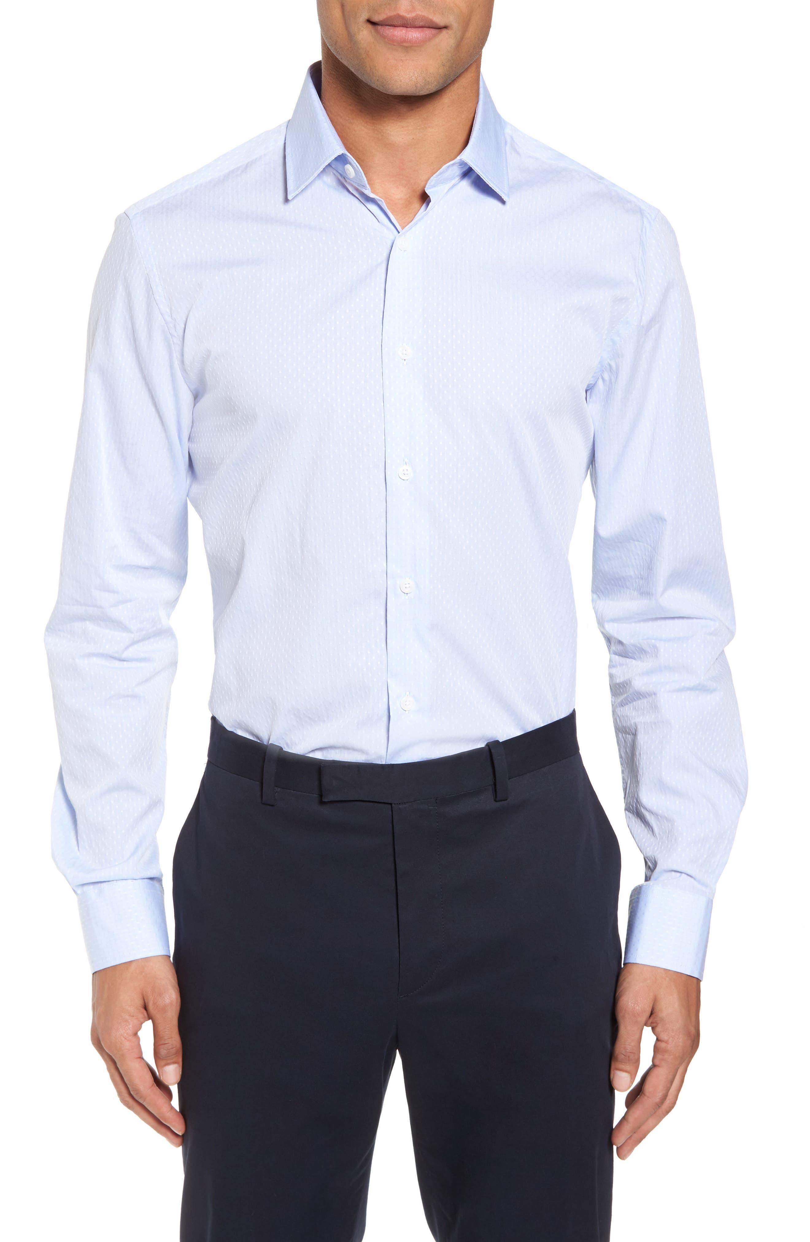 Trim Fit Solid Dress Shirt,                         Main,                         color, BLUE