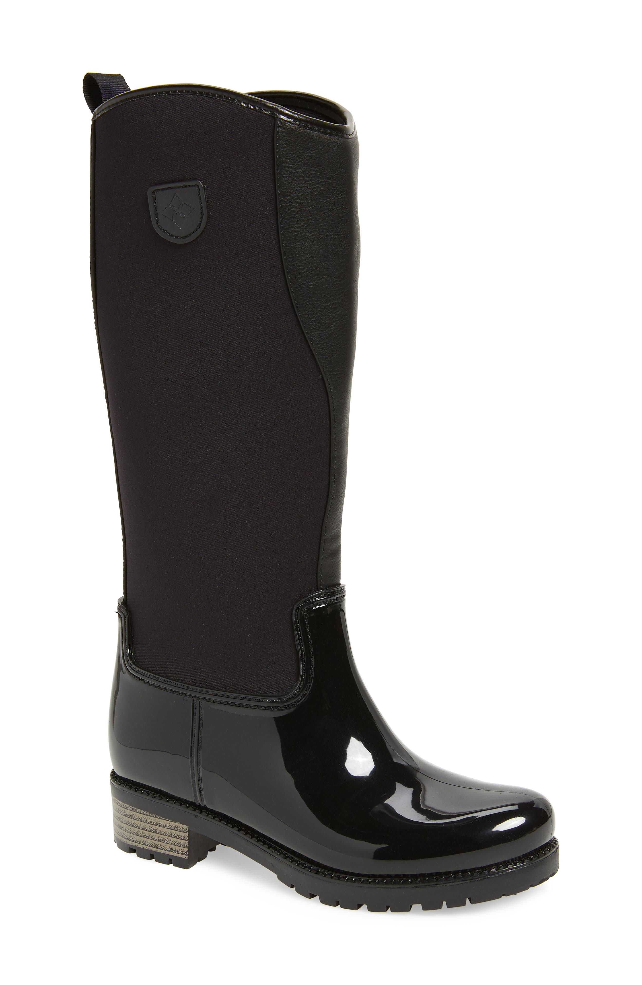 Parma 2 Tall Waterproof Rain Boot,                             Main thumbnail 1, color,                             BLACK FABRIC
