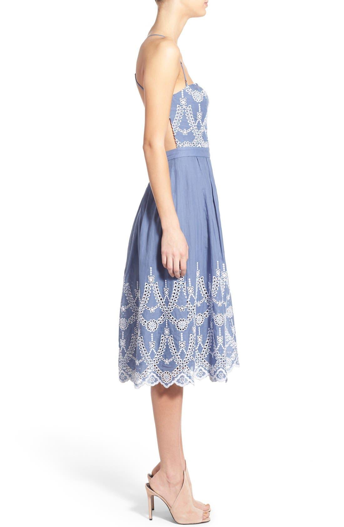 Cotton Eyelet Halter Dress,                             Alternate thumbnail 3, color,                             403