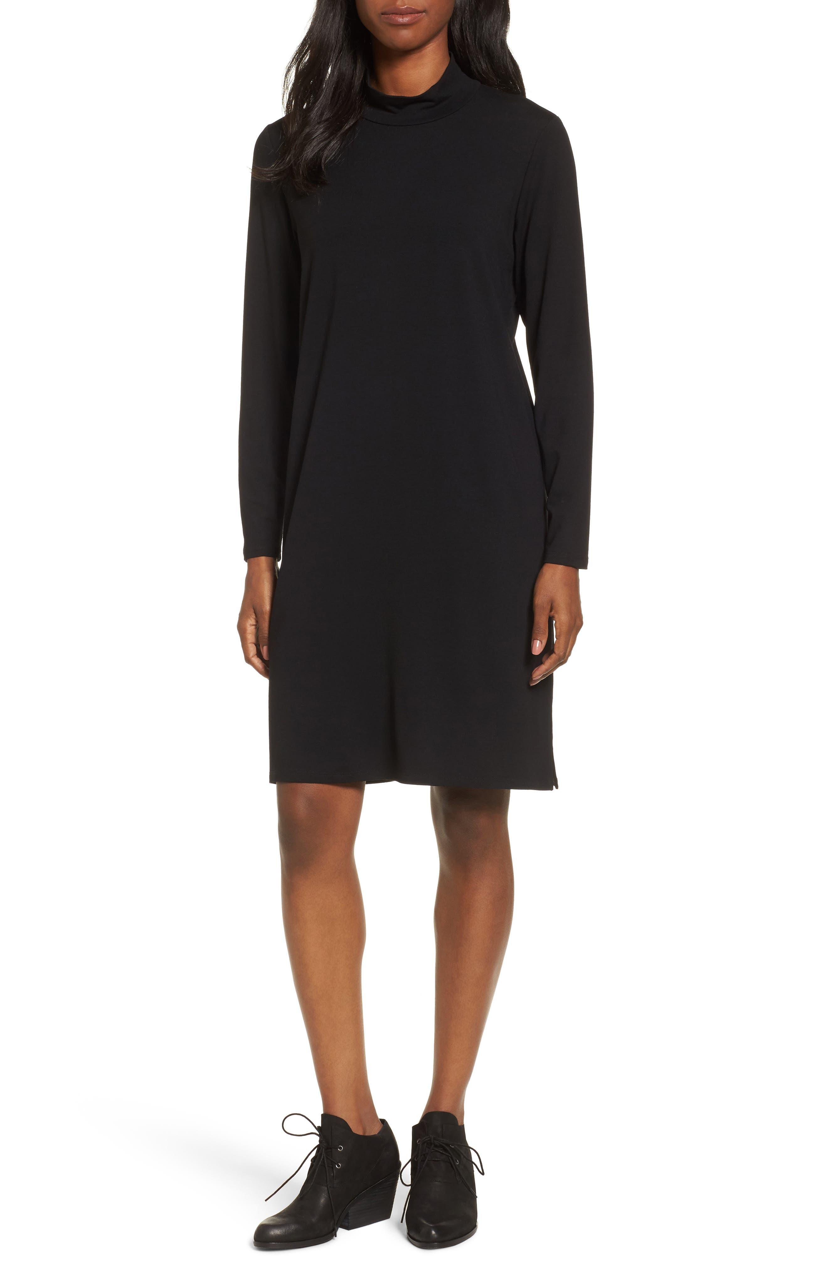 Mock Neck Shift Dress,                         Main,                         color, 001