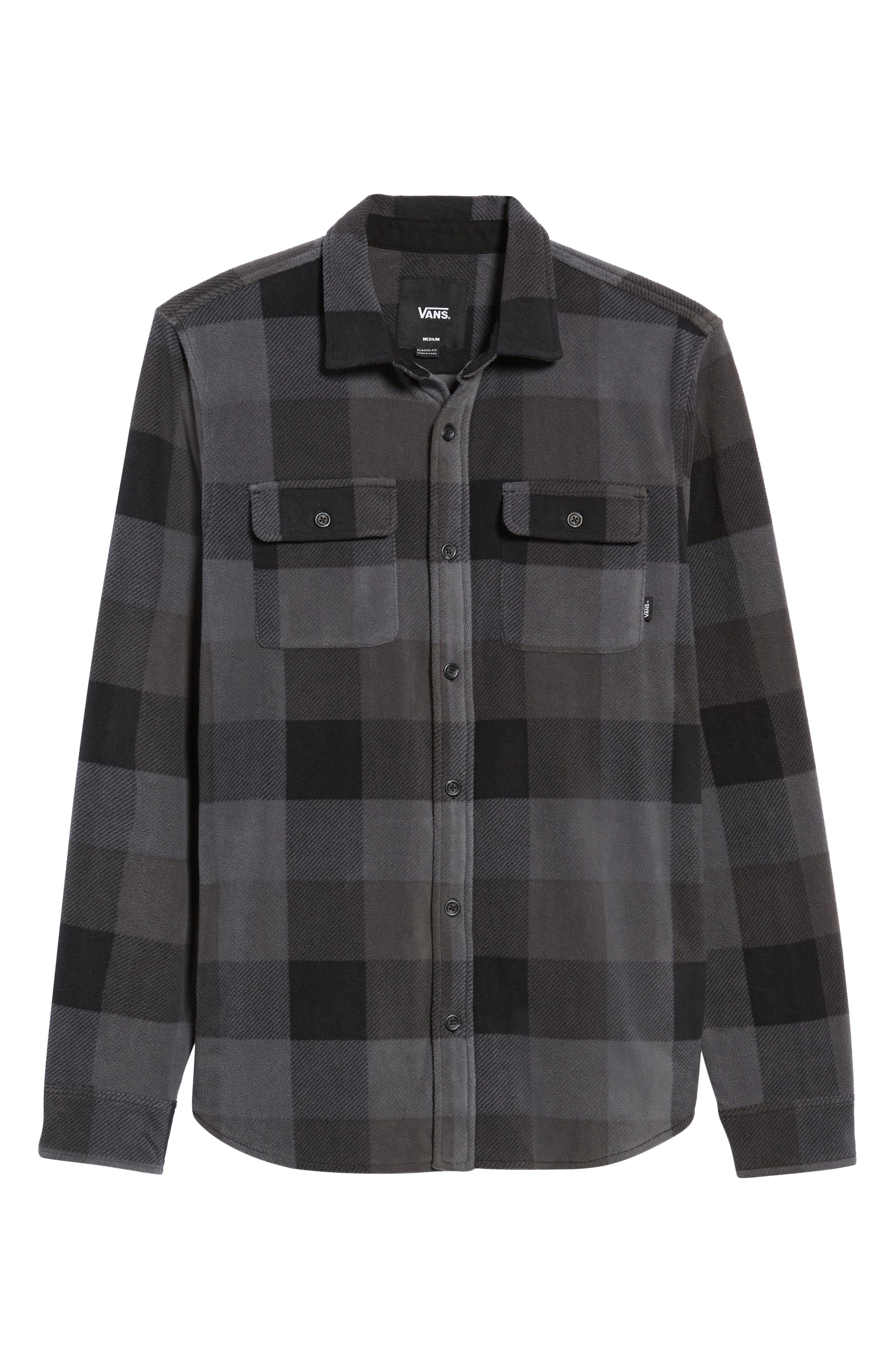 Hillcrest Polar Fleece Shirt Jacket,                             Alternate thumbnail 6, color,                             BLACK/ CHARCOAL