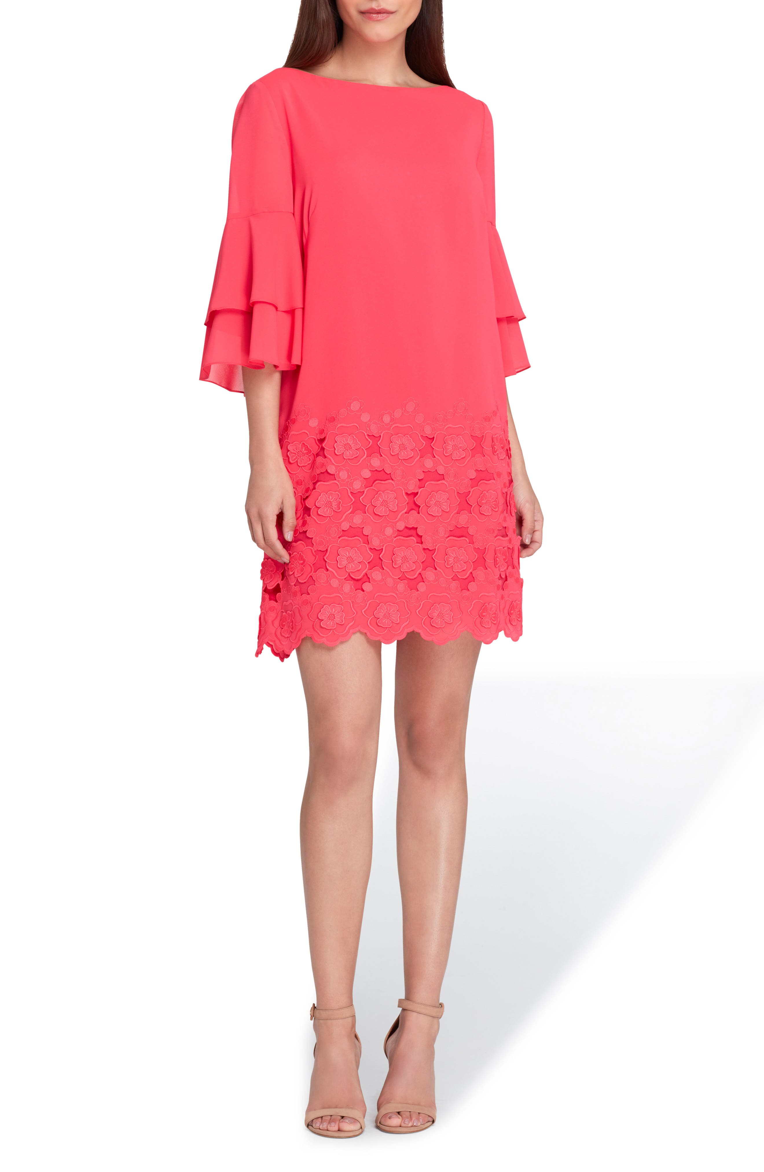 Embroidered Ruffle Sleeve Shift Dress,                         Main,                         color, 676