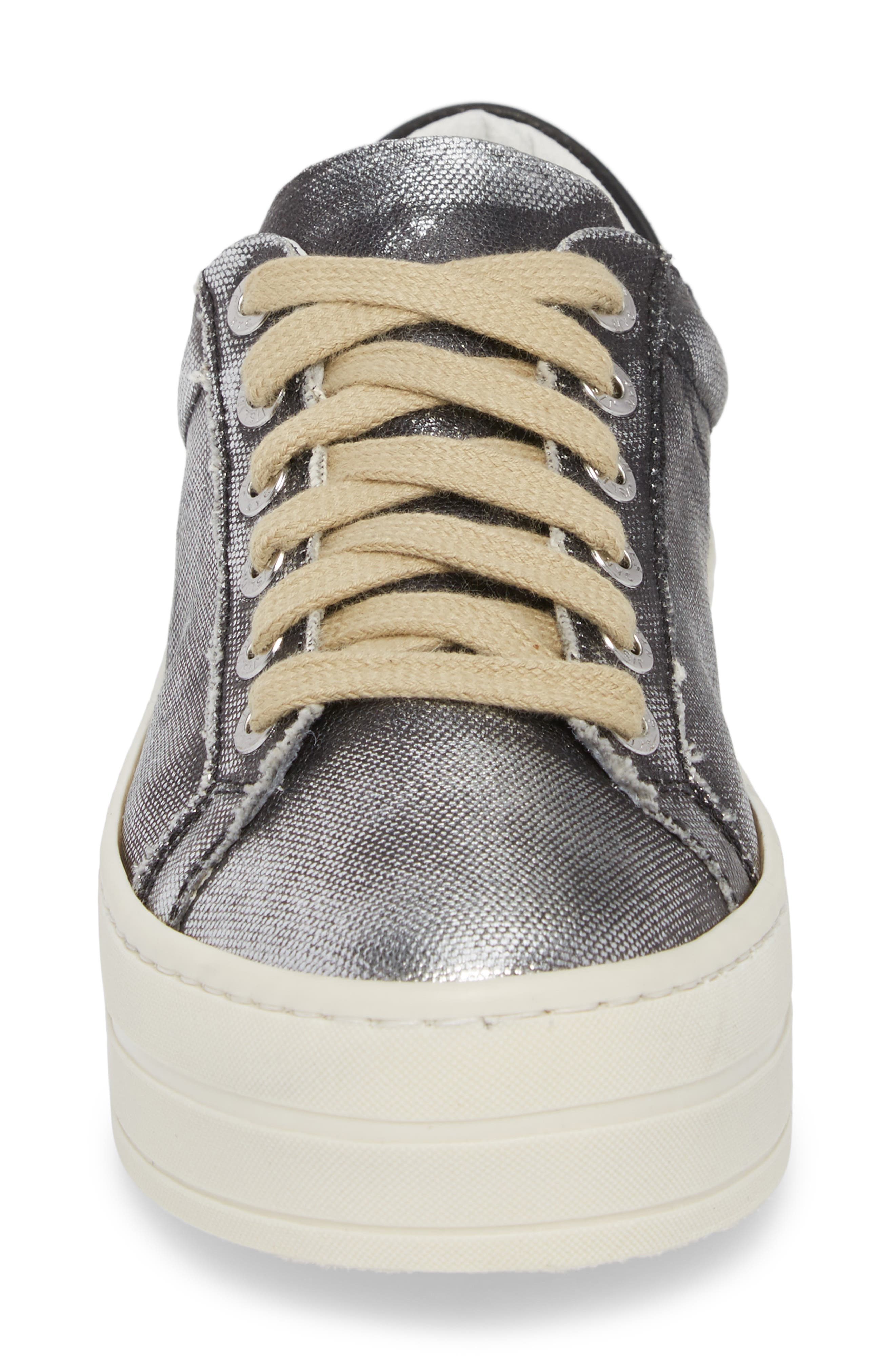Heather Platform Sneaker,                             Alternate thumbnail 4, color,                             BLACK LEATHER