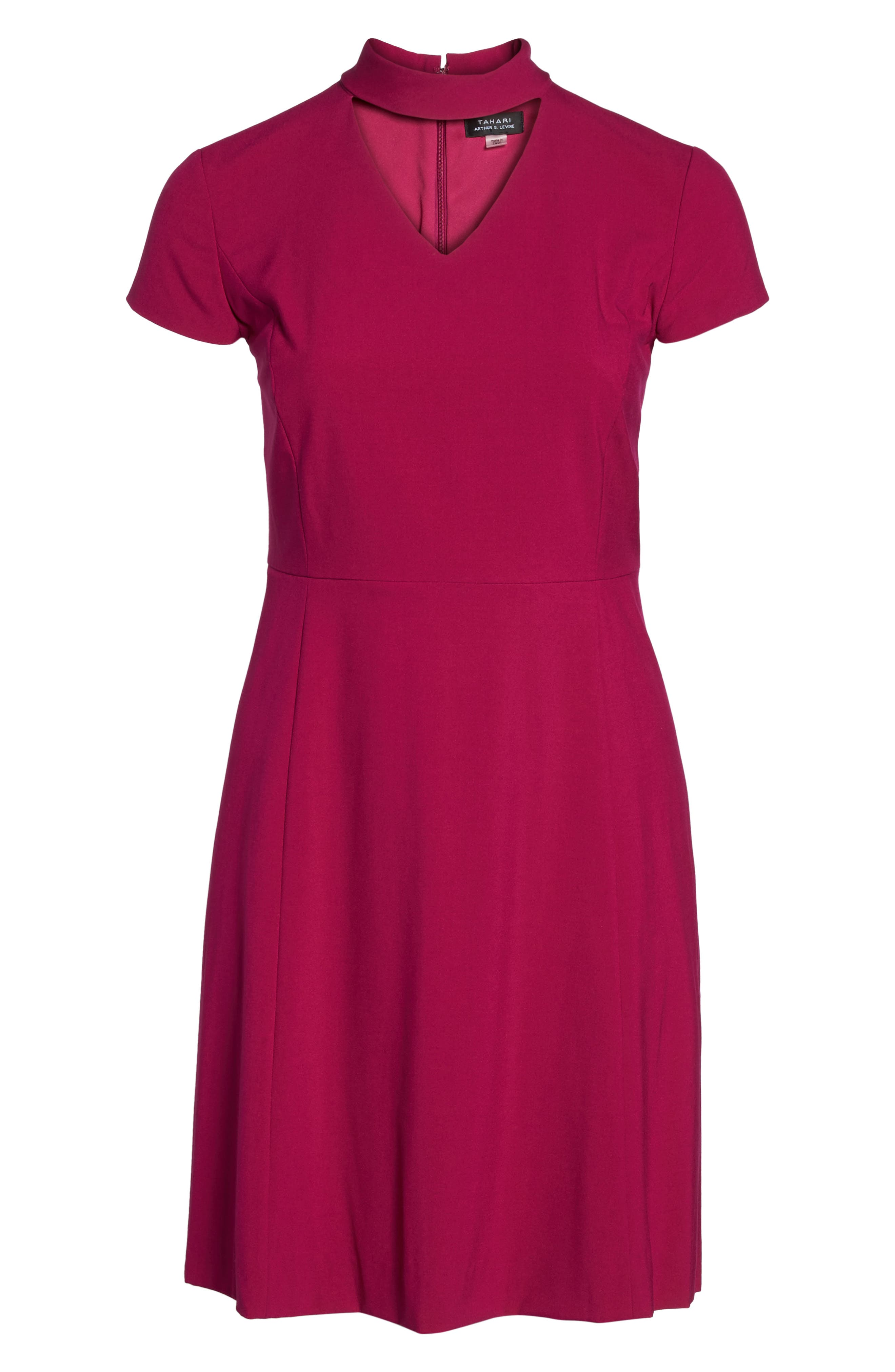 Mock Choker Neck A-Line Dress,                             Alternate thumbnail 6, color,                             681
