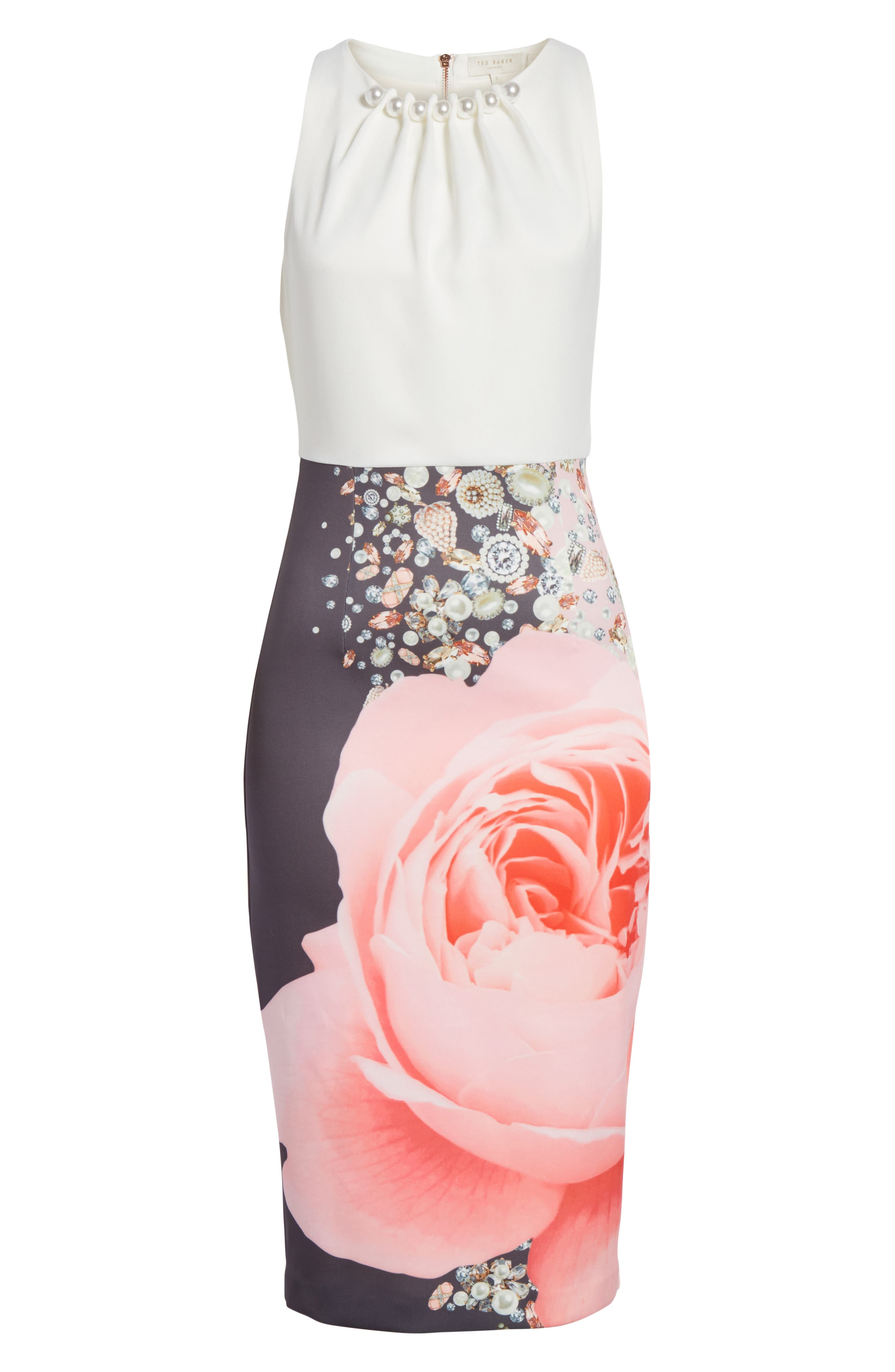 TED BAKER LONDON,                             Blenheim Palace Embellished Body-Con Dress,                             Alternate thumbnail 6, color,                             253