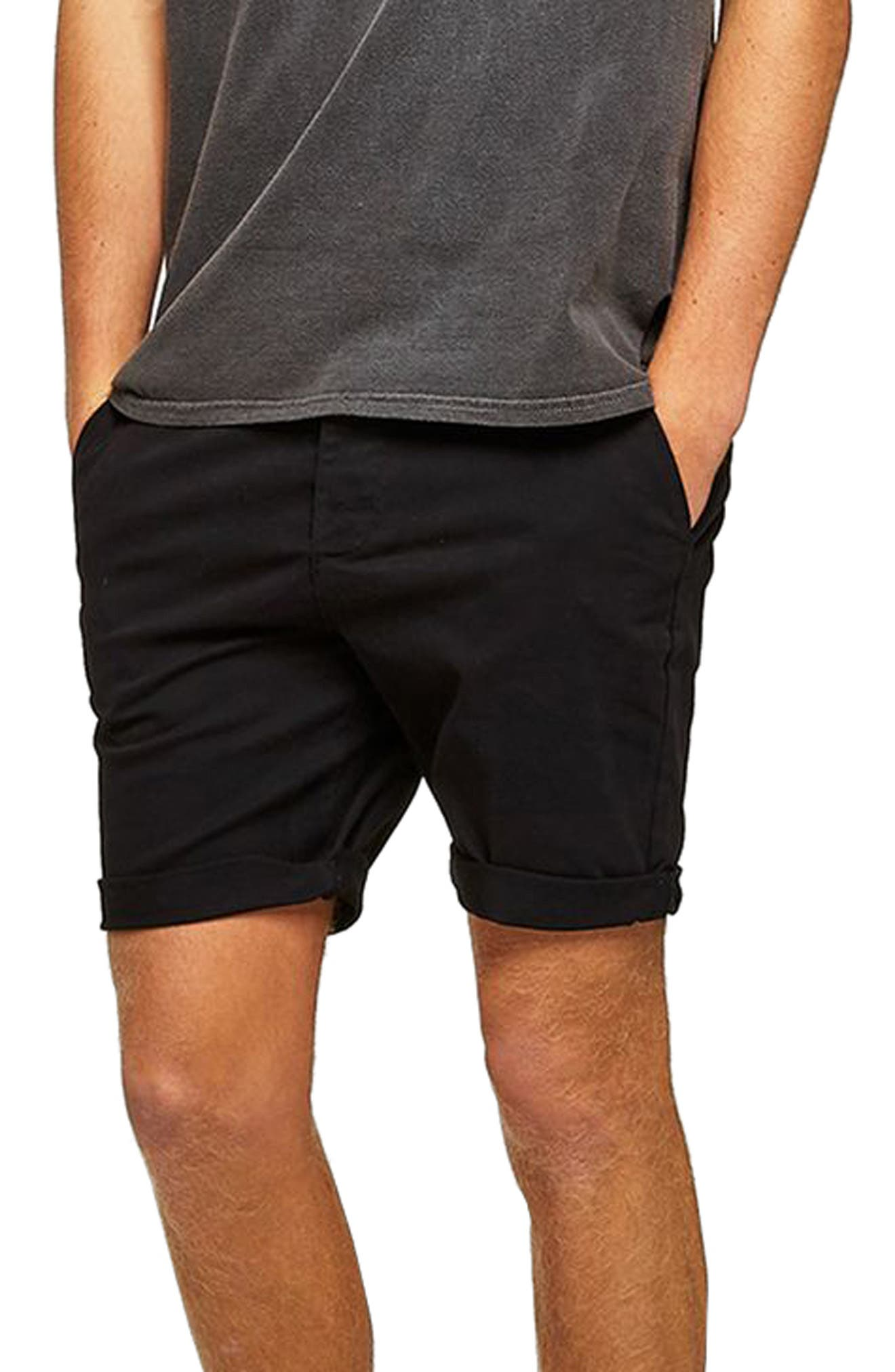 TOPMAN Skinny Fit Chino Shorts, Main, color, BLACK