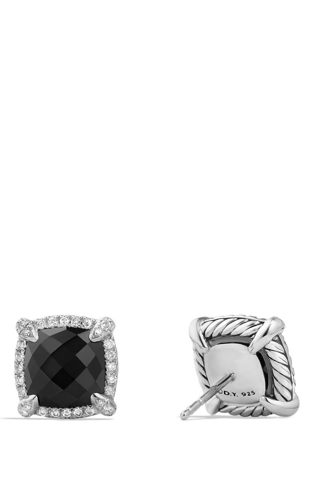 'Châtelaine' Pavé Bezel Stud Earrings with Diamonds,                             Alternate thumbnail 3, color,                             BLACK ONYX