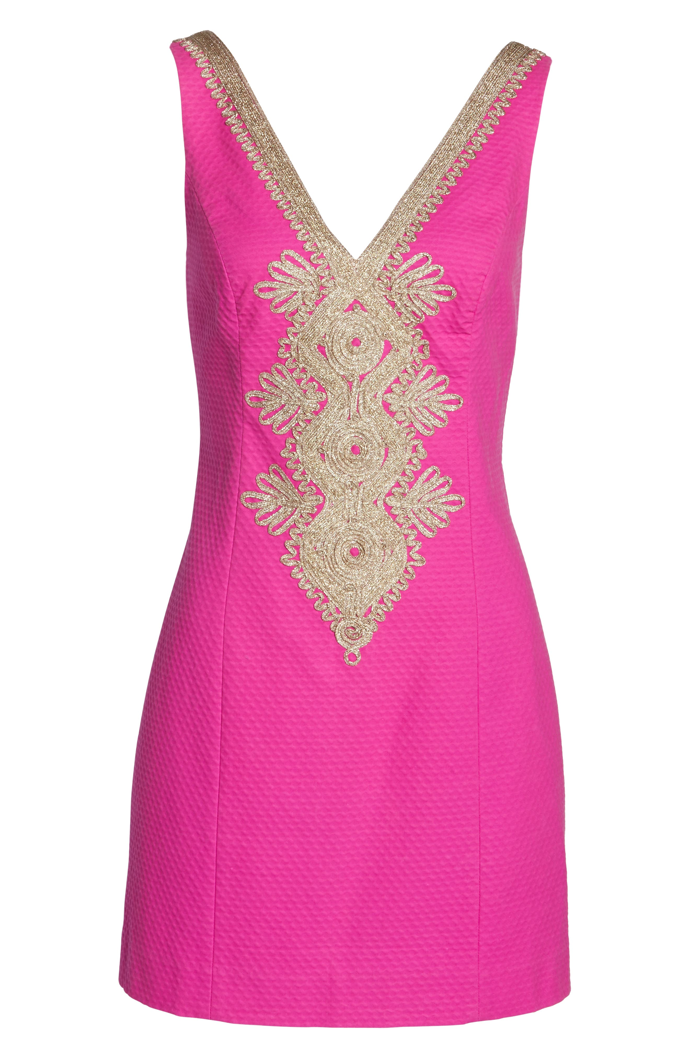 Junie Embroidered Sheath Dress,                             Alternate thumbnail 6, color,                             500