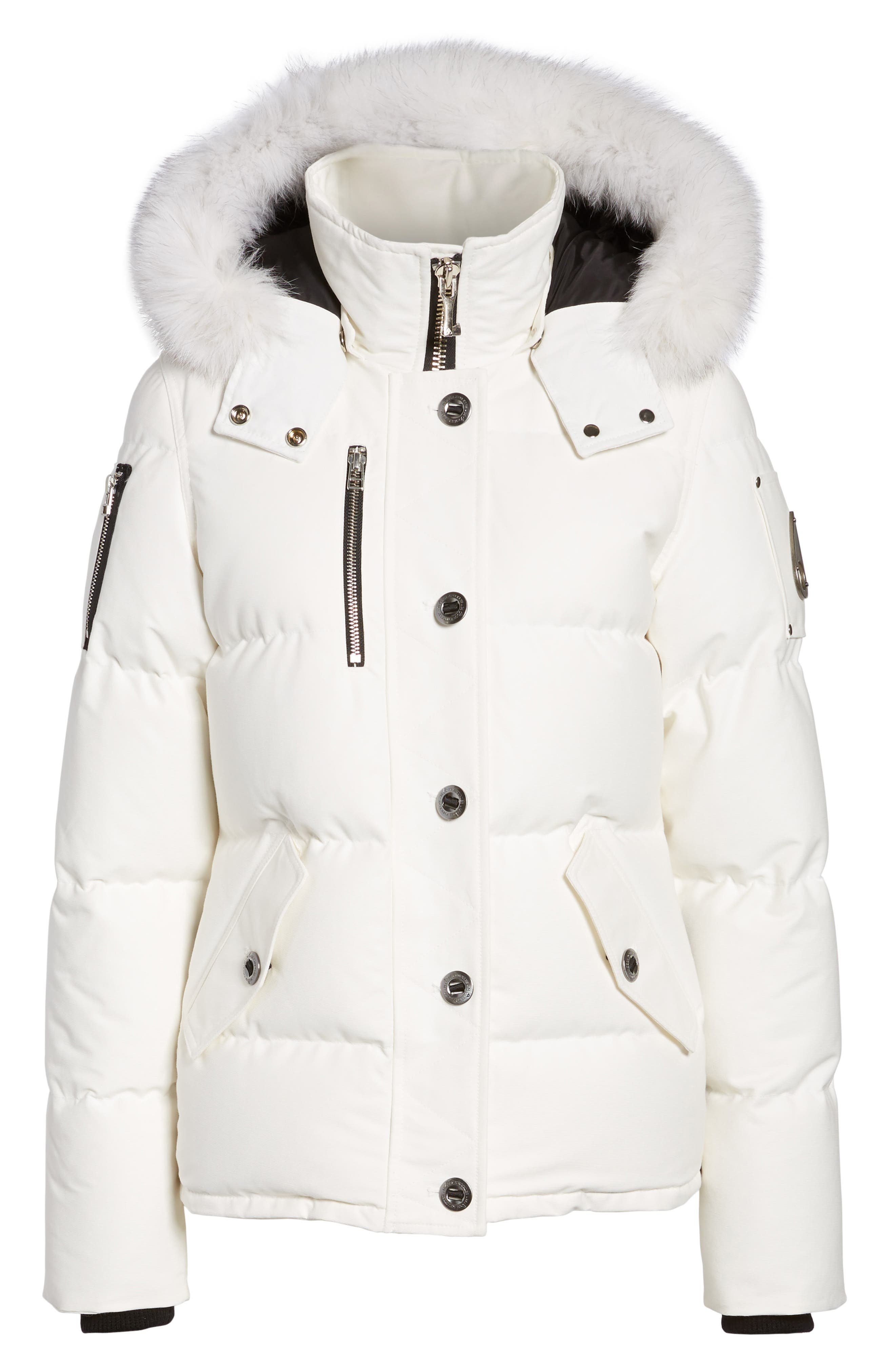 Genuine Fox Fur Trim Hooded Down Coat,                             Alternate thumbnail 5, color,                             SNOW WHITE/ BLACK FUR