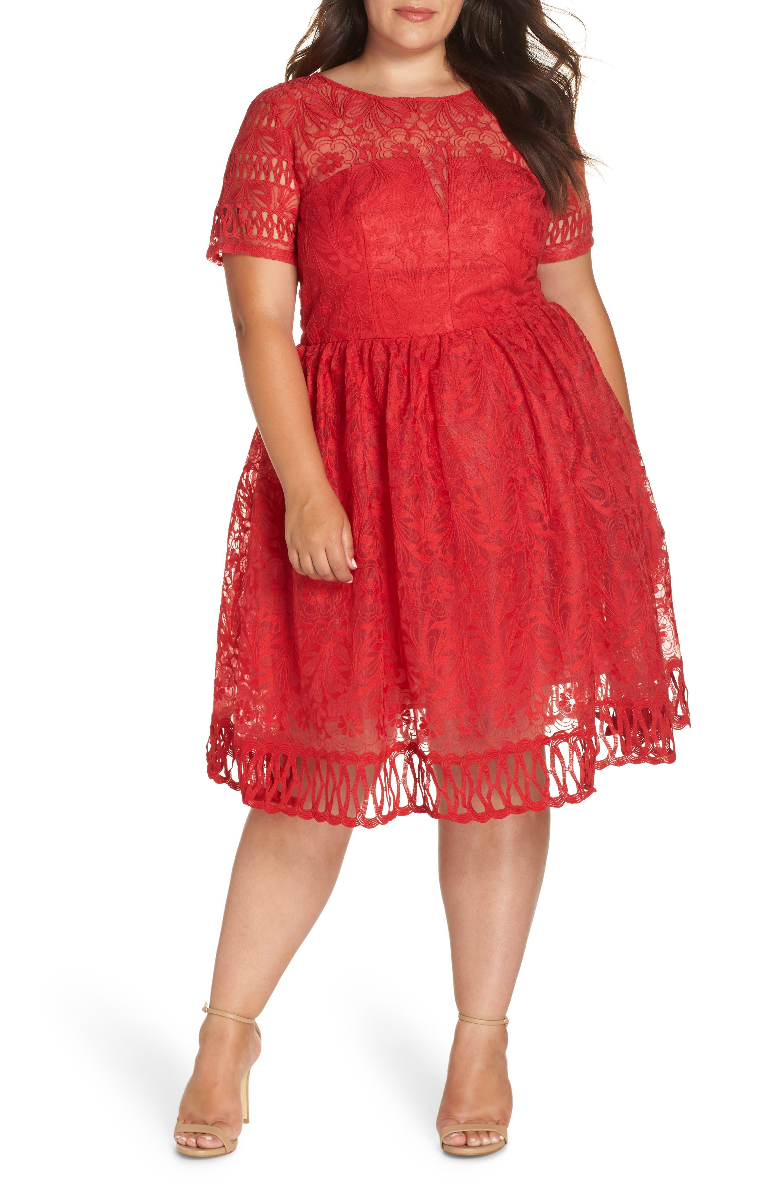 plus size women's chi chi london crochet midi dress, size 18w - red