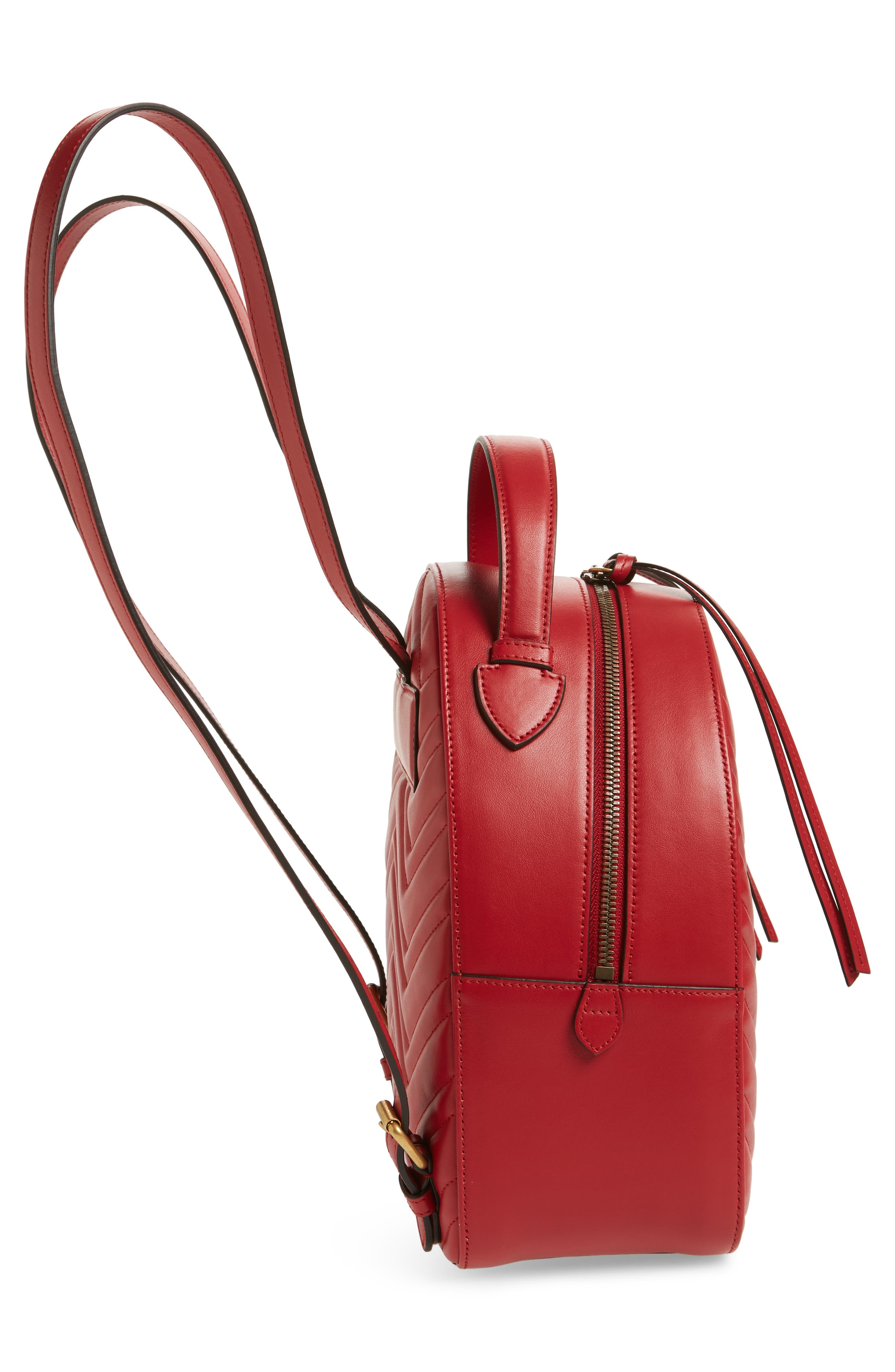 GG Marmont Matelassé Quilted Leather Backpack,                             Alternate thumbnail 5, color,                             HIBISCUS RED