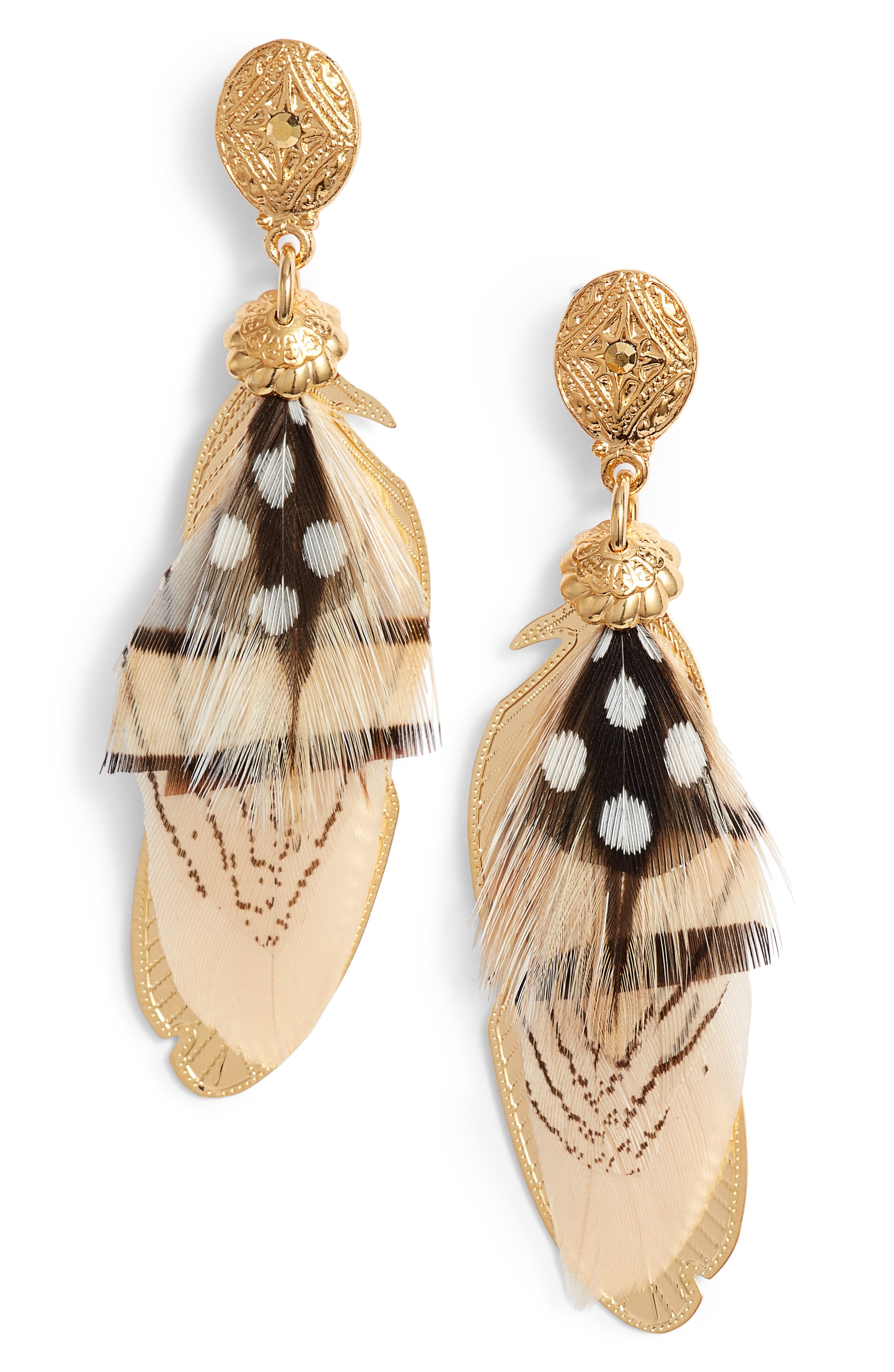 Small Sao Feather Earrings,                             Main thumbnail 1, color,                             WHITE