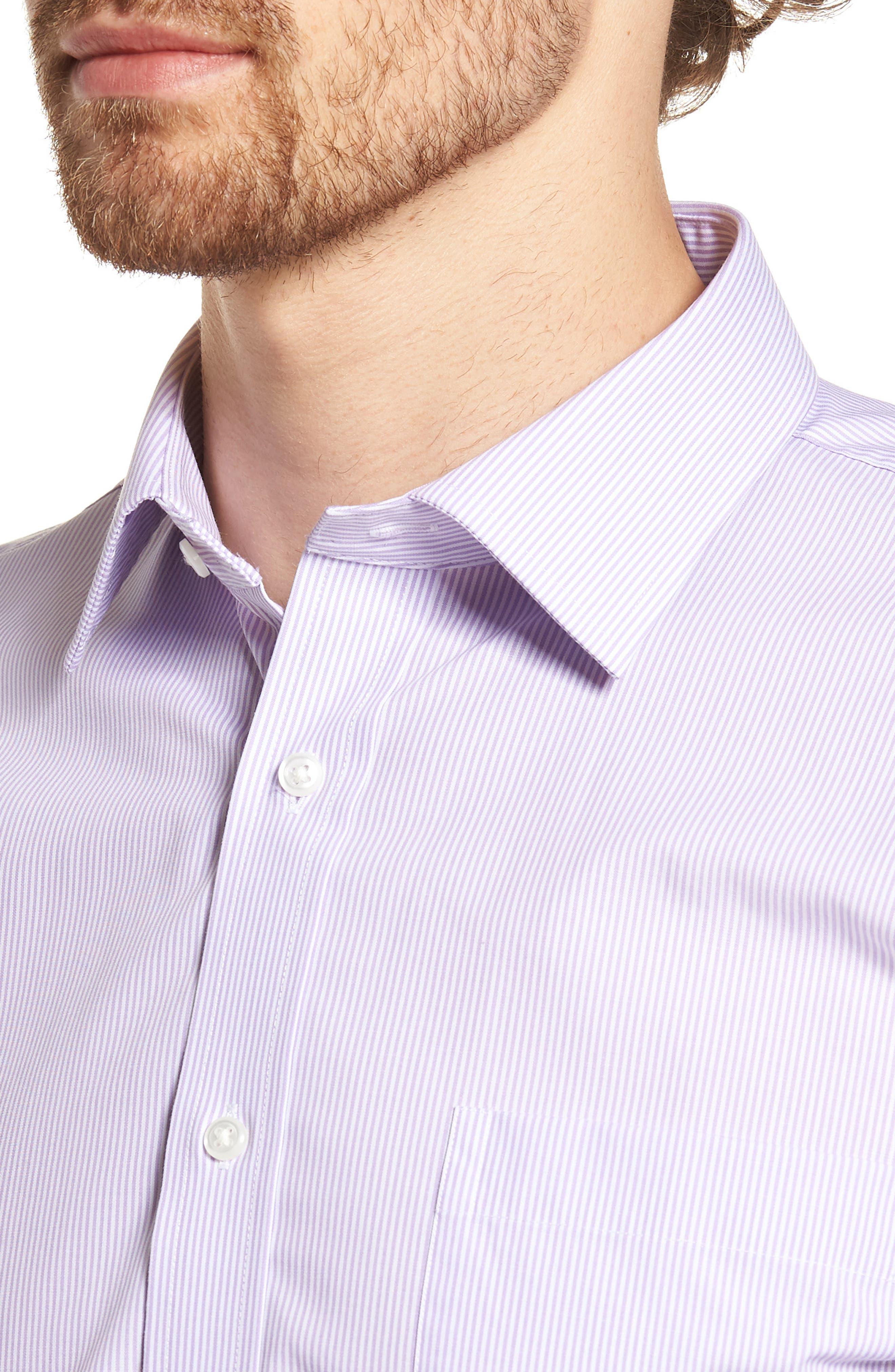 Trim Fit Non-Iron Stripe Dress Shirt,                             Alternate thumbnail 10, color,