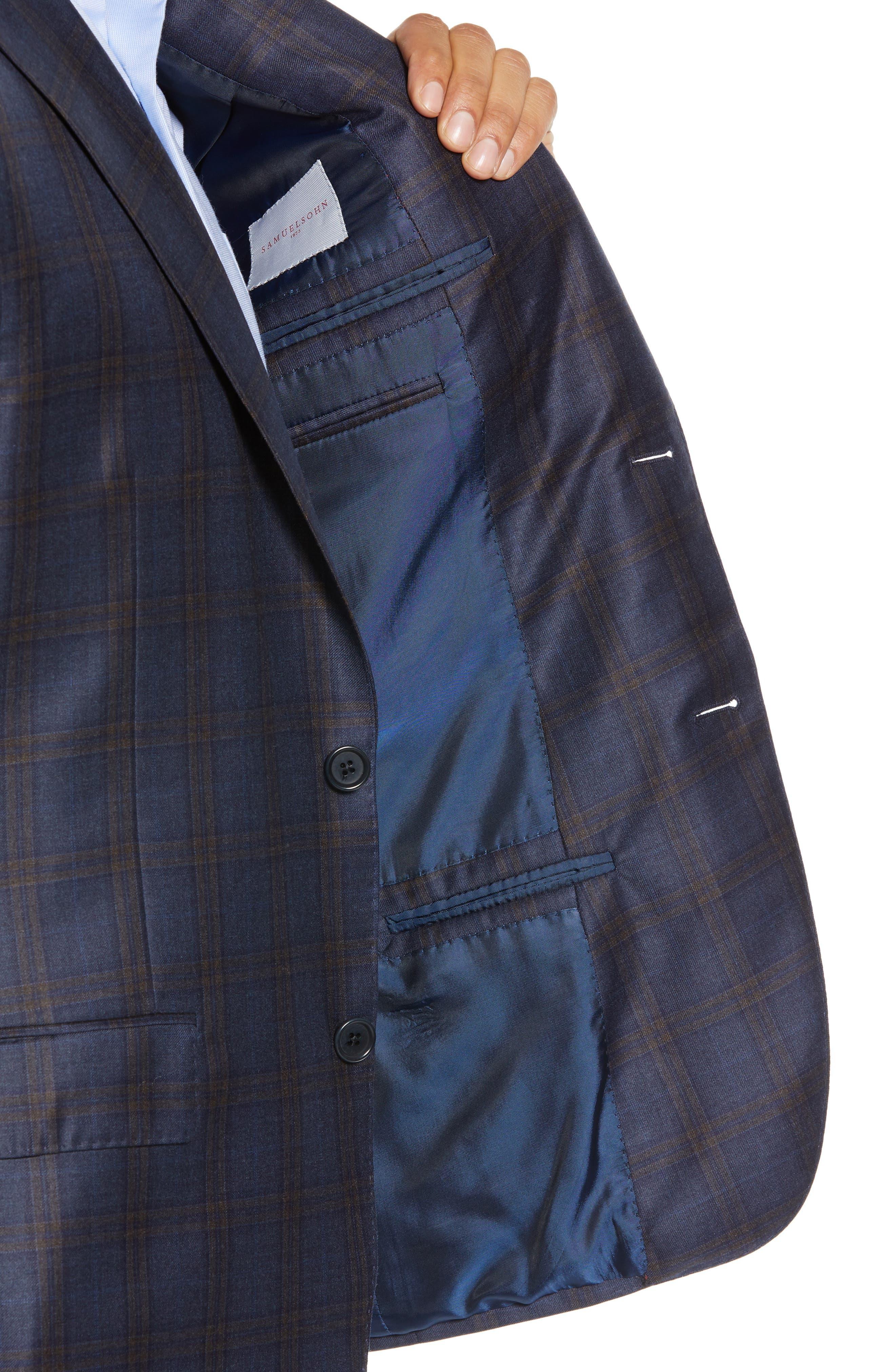 Classic Fit Plaid Wool Sport Coat,                             Alternate thumbnail 4, color,                             BLUE/ BROWN