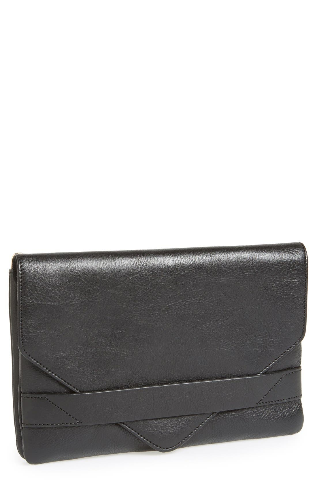 'Every Wear' Foldover Wristlet Clutch,                             Main thumbnail 1, color,                             001