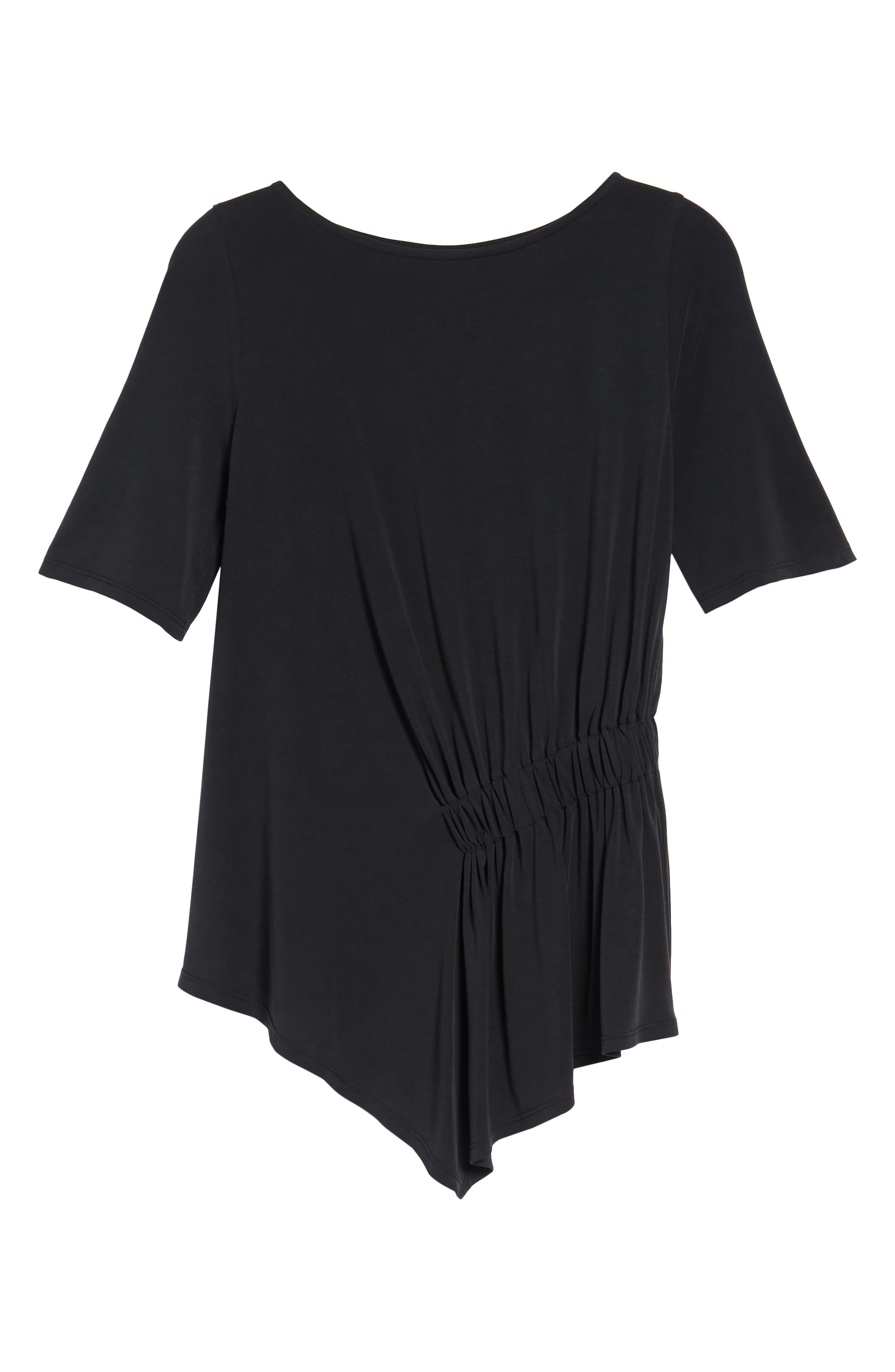 Ruched Waist Tee,                             Alternate thumbnail 7, color,                             001