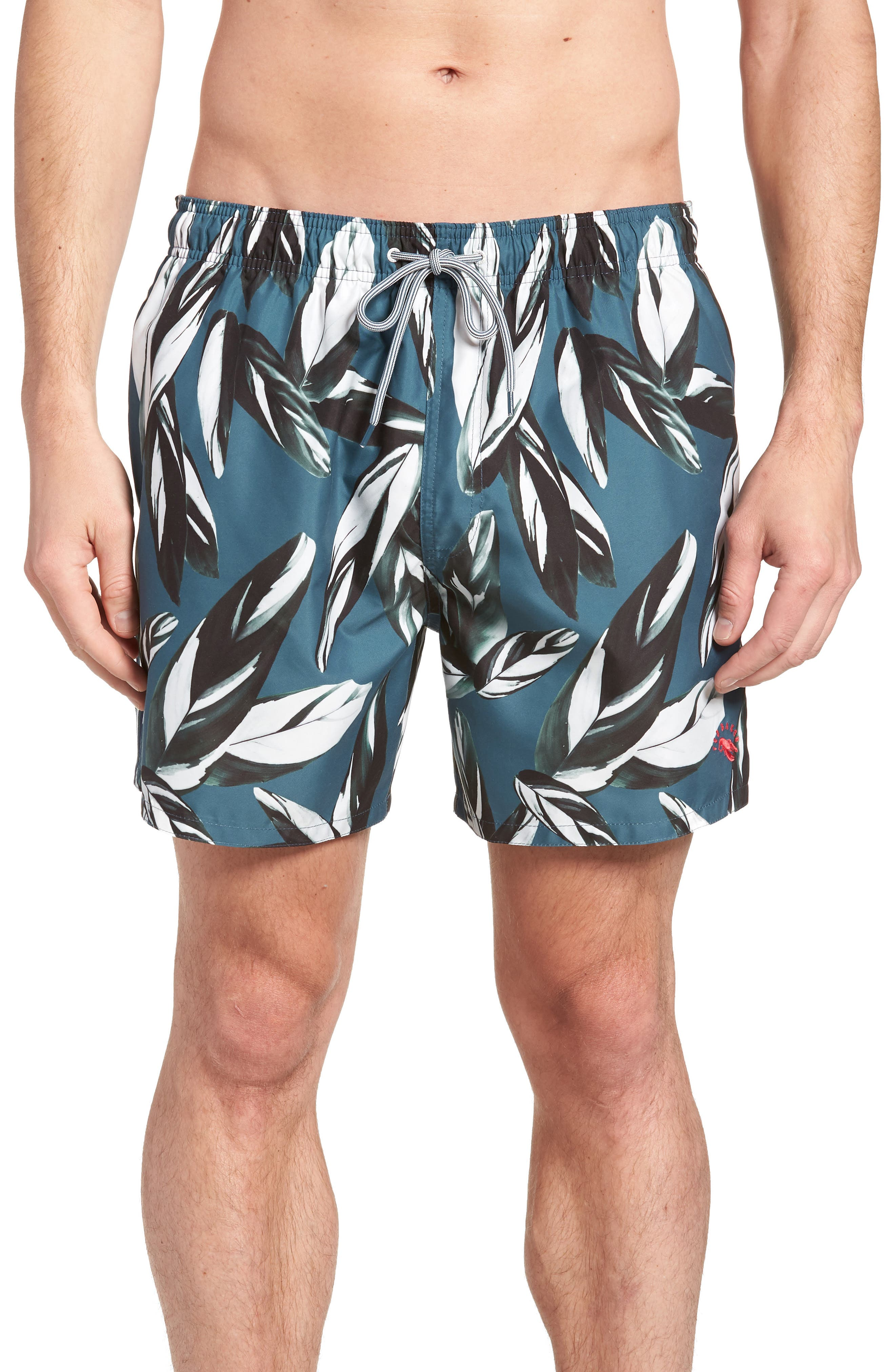 Bury Leaf Print Swim Shorts,                             Main thumbnail 1, color,                             440