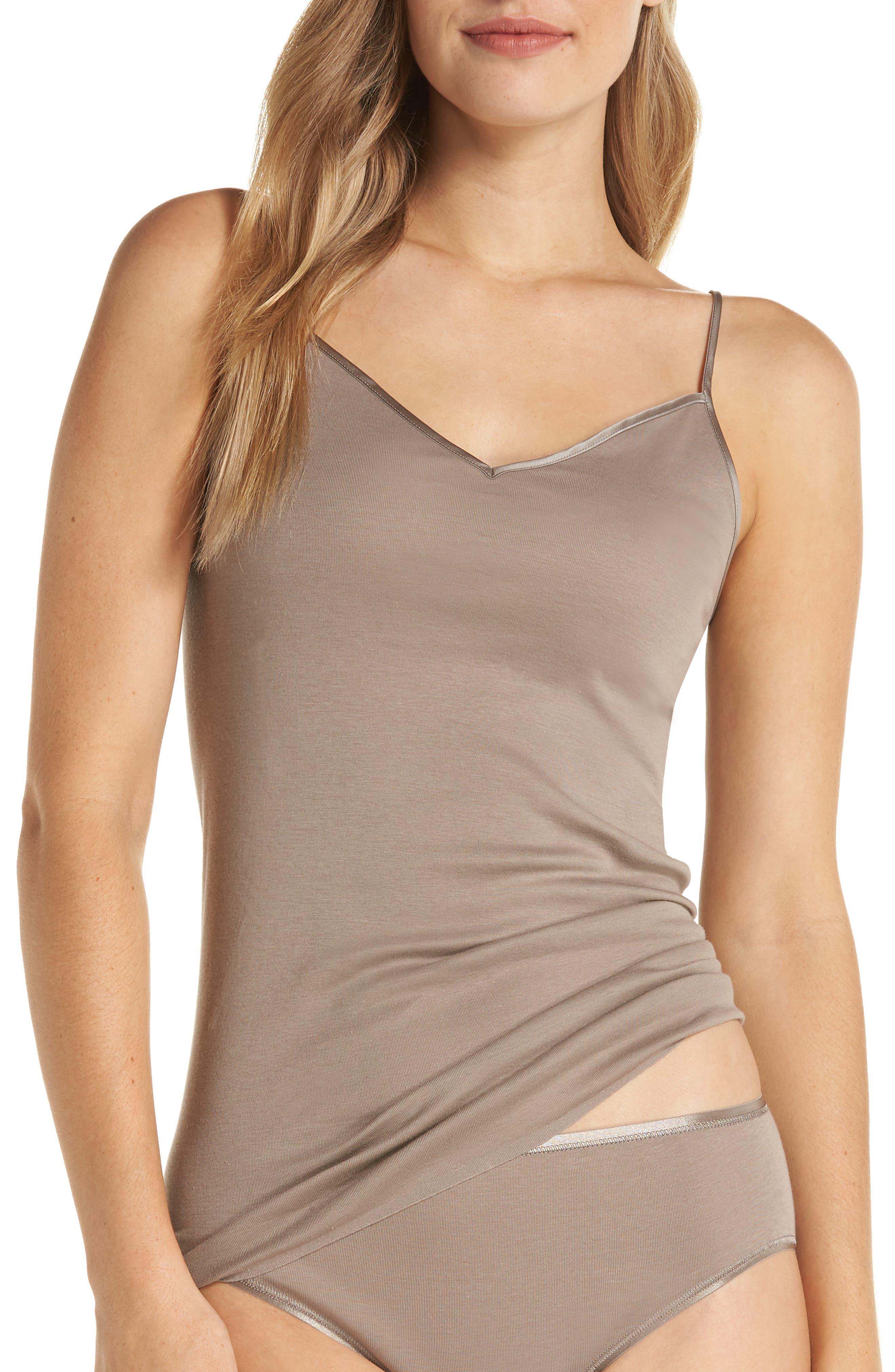 Hanro Seamless V-Neck Cotton Camisole, Brown