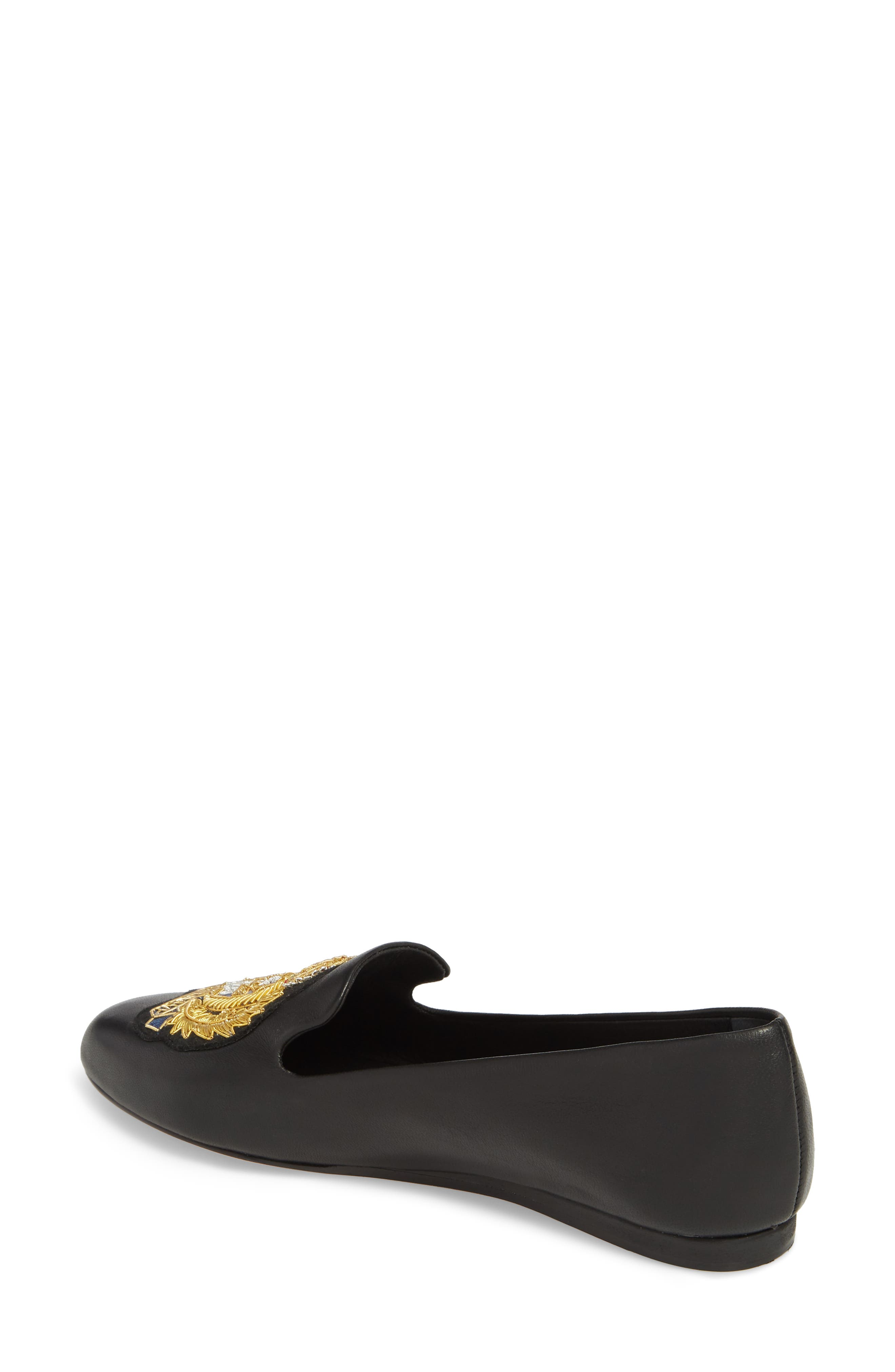 Griffin Pointy Toe Loafer,                             Alternate thumbnail 2, color,                             BLACK LEATHER