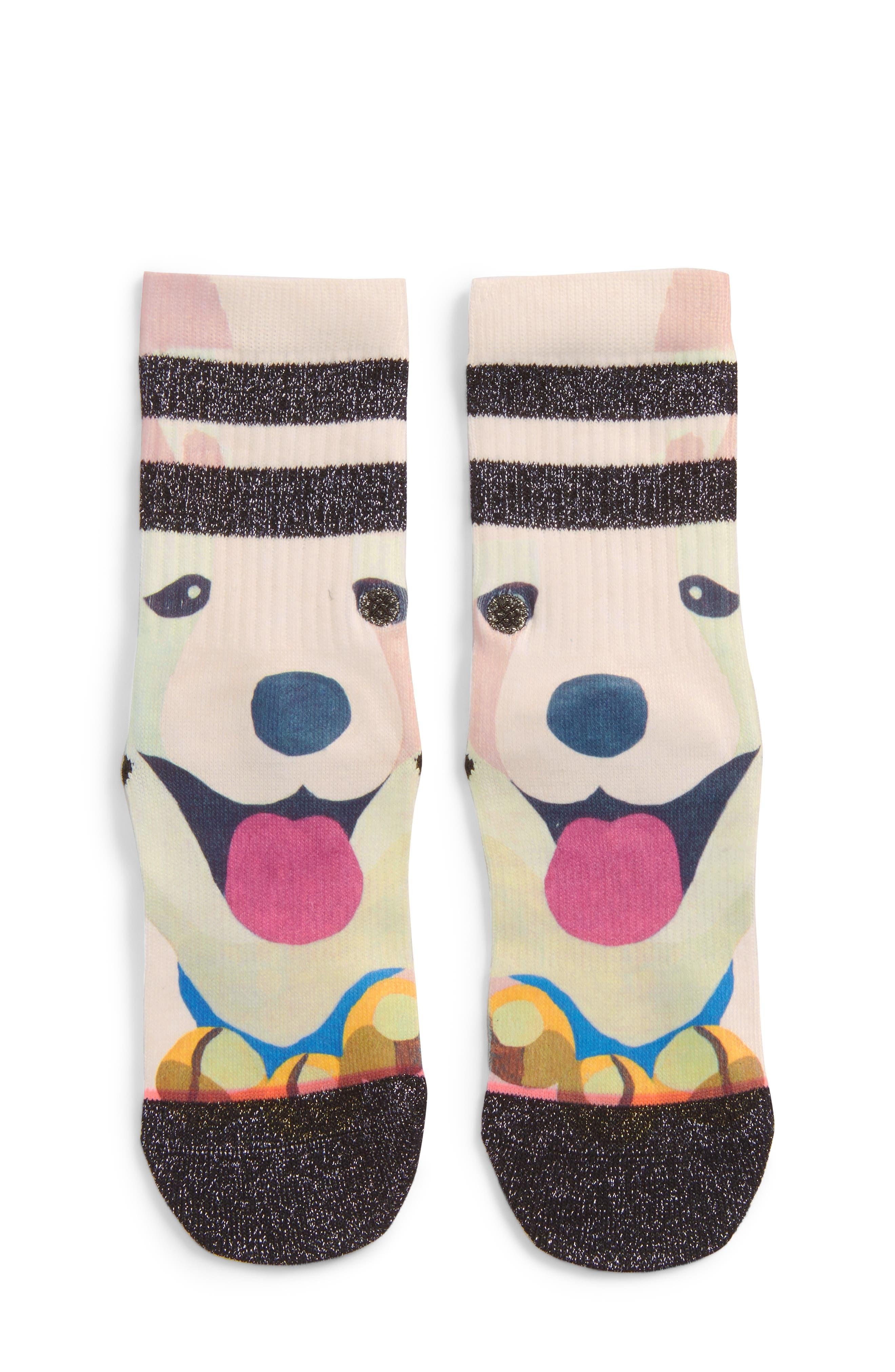 Puppies Crew Socks,                             Main thumbnail 1, color,                             001