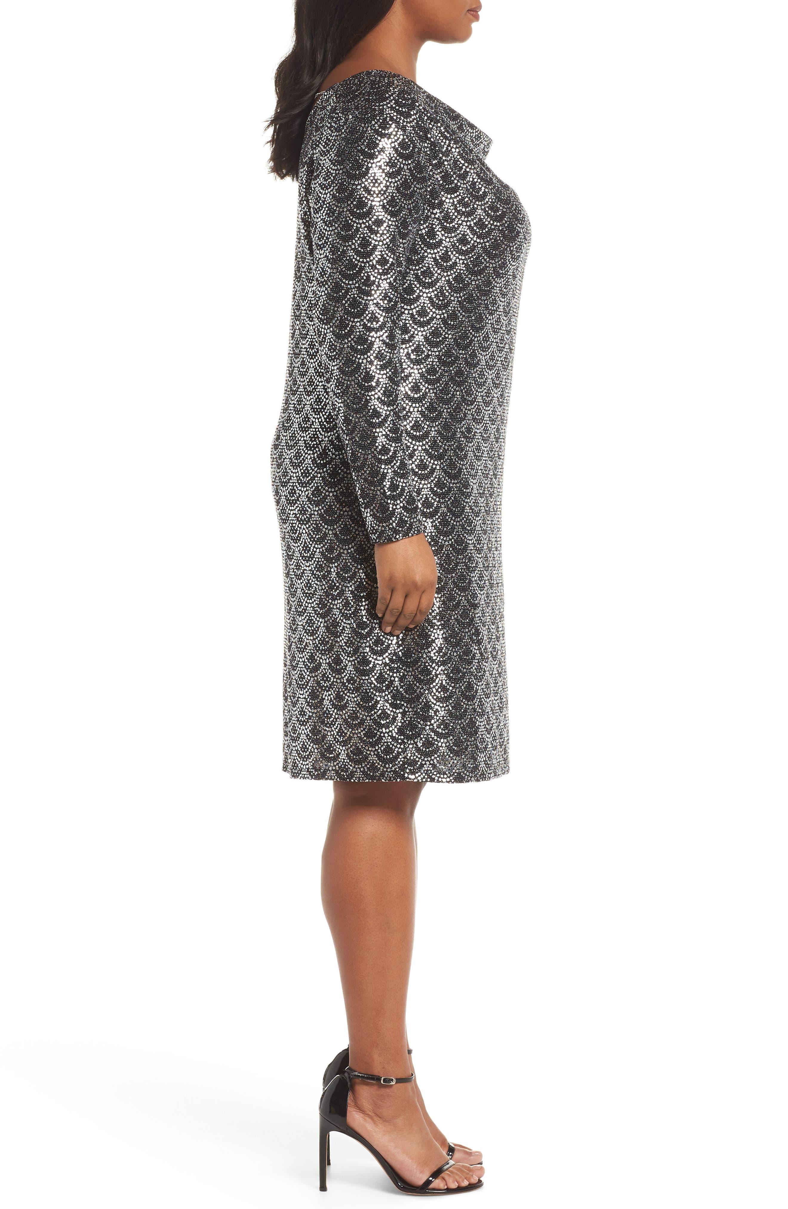 Glitter Knit Shift Dress,                             Alternate thumbnail 3, color,                             001
