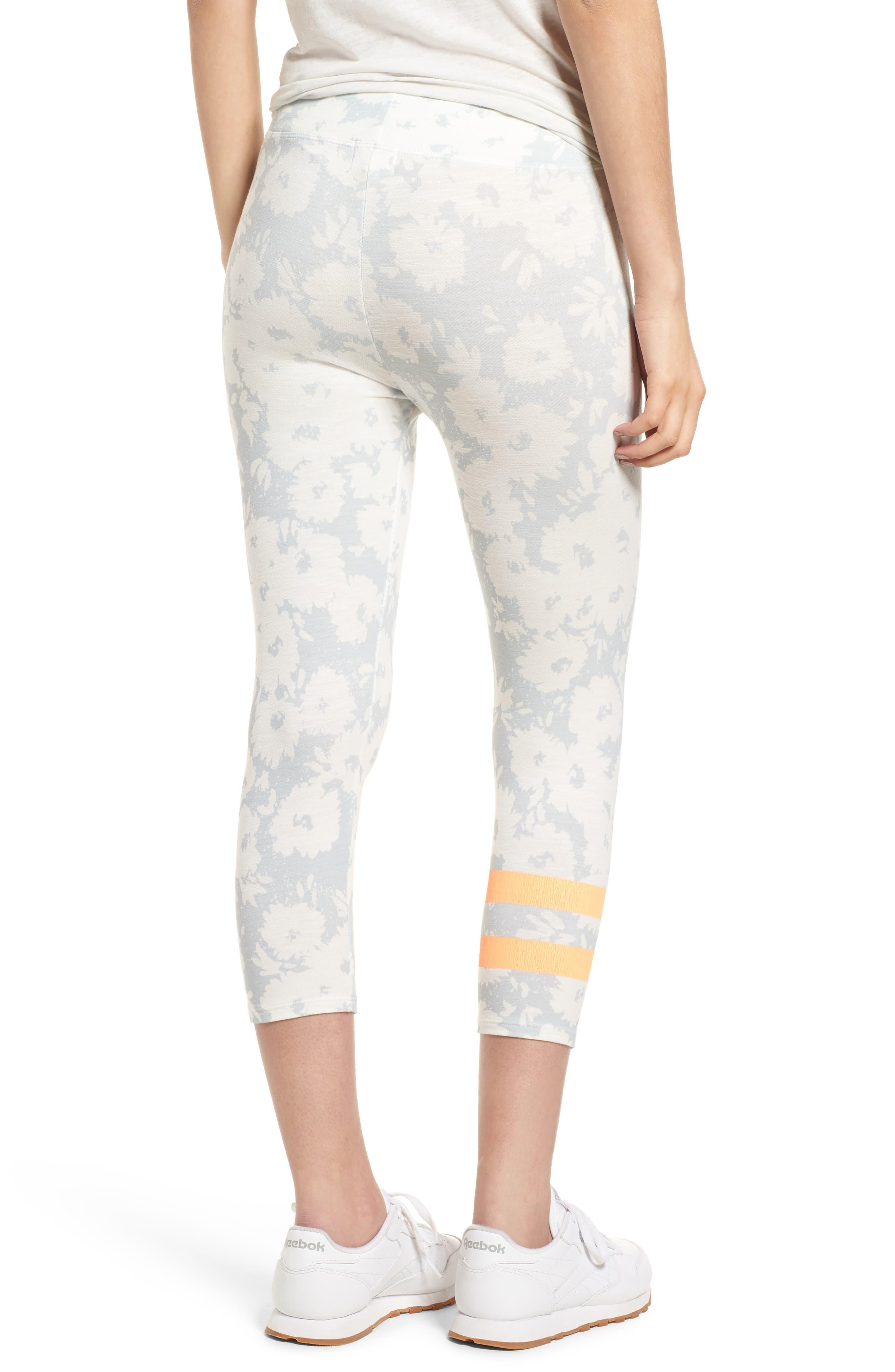 Stripe Print Capri Yoga Pants,                             Alternate thumbnail 2, color,                             451