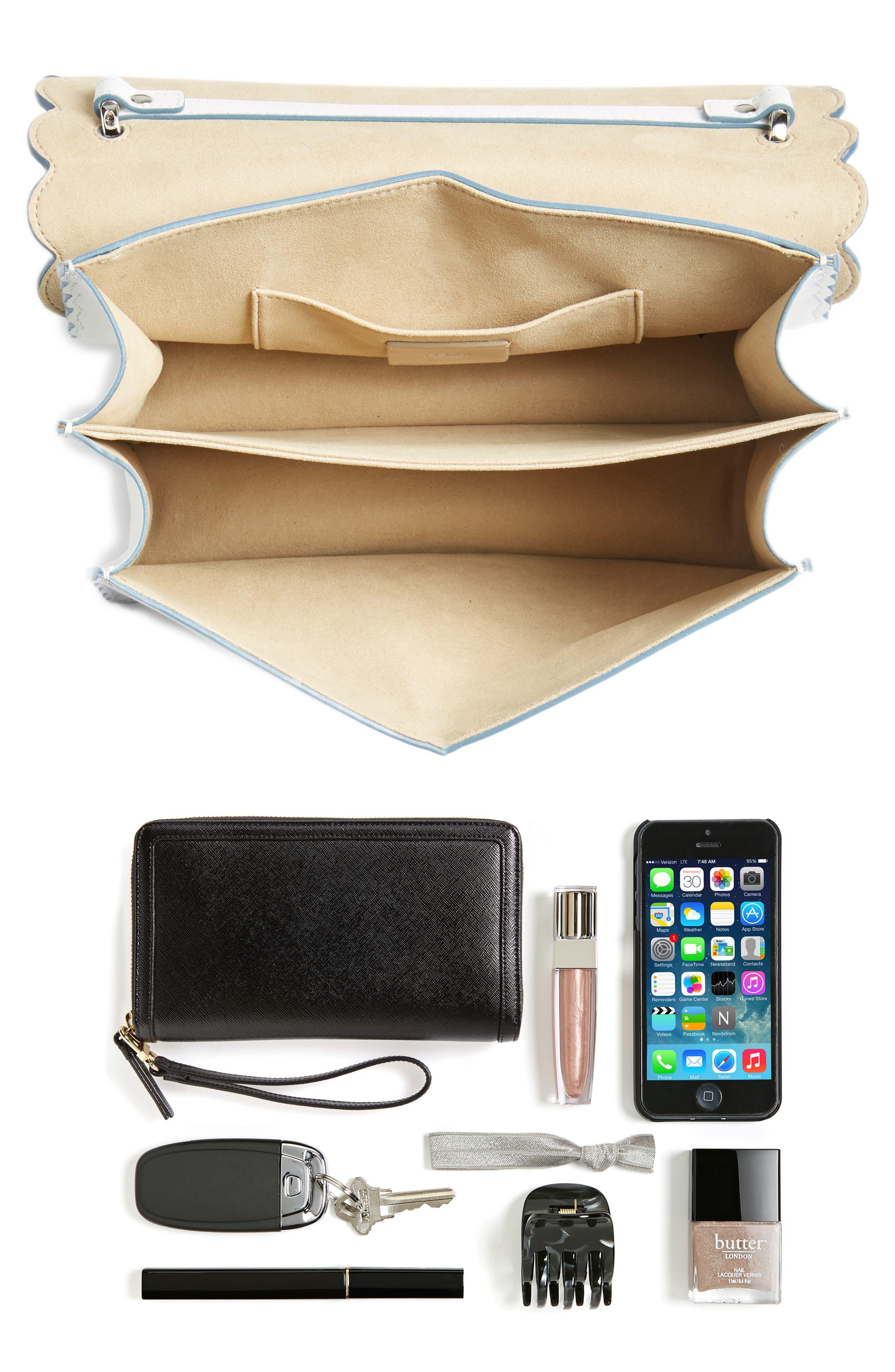 Kan I Scallop Leather Shoulder Bag,                             Alternate thumbnail 7, color,                             WHITE