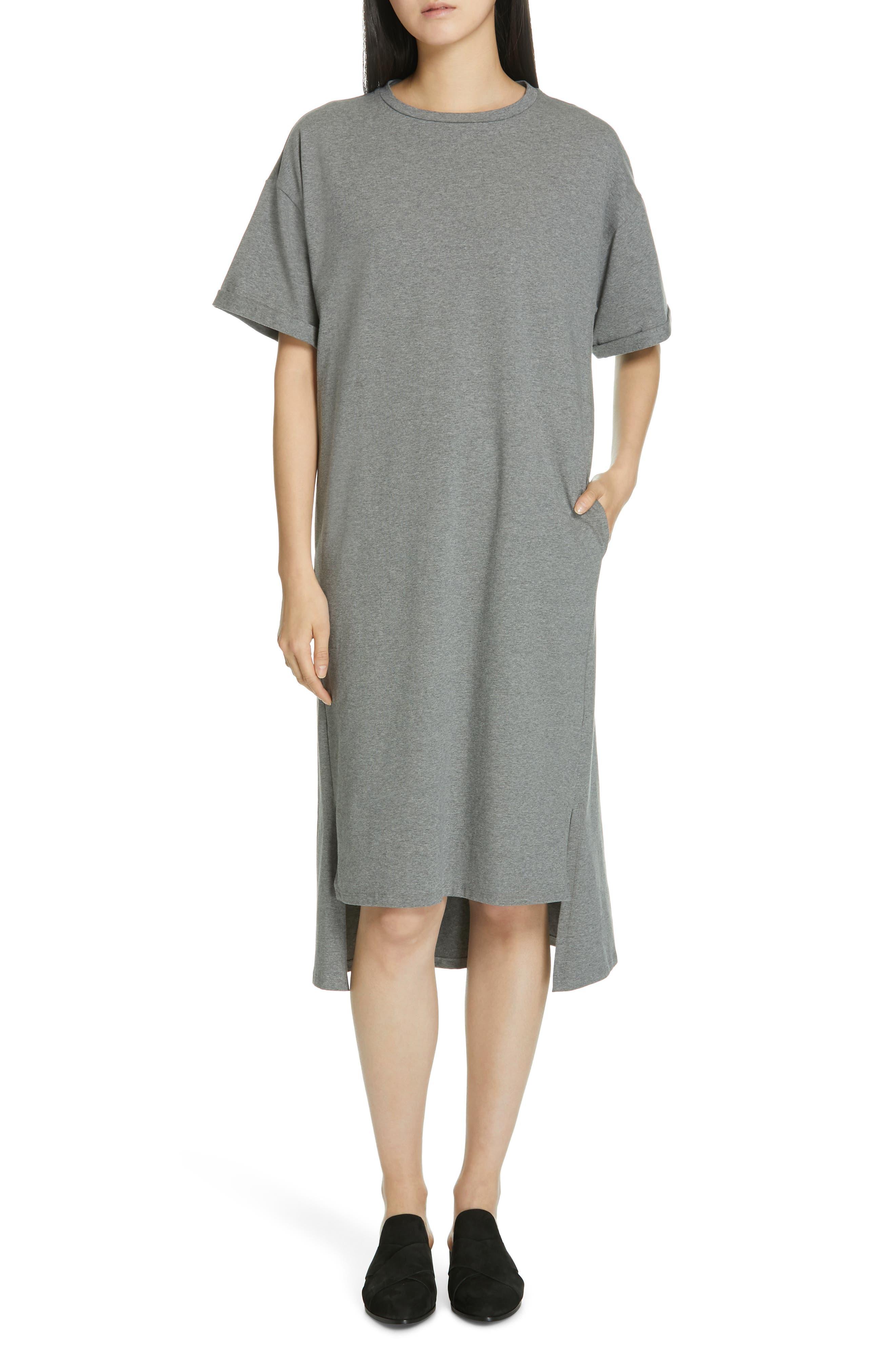 Petite Eileen Fisher Organic Cotton T-Shirt Dress, Grey