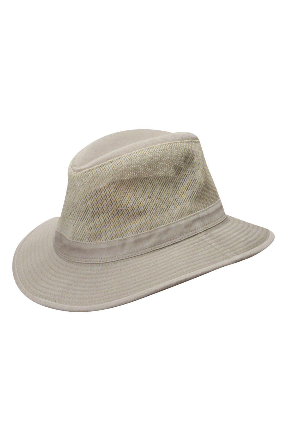 Washed Twill & Mesh Safari Hat,                             Main thumbnail 1, color,                             KHAKI